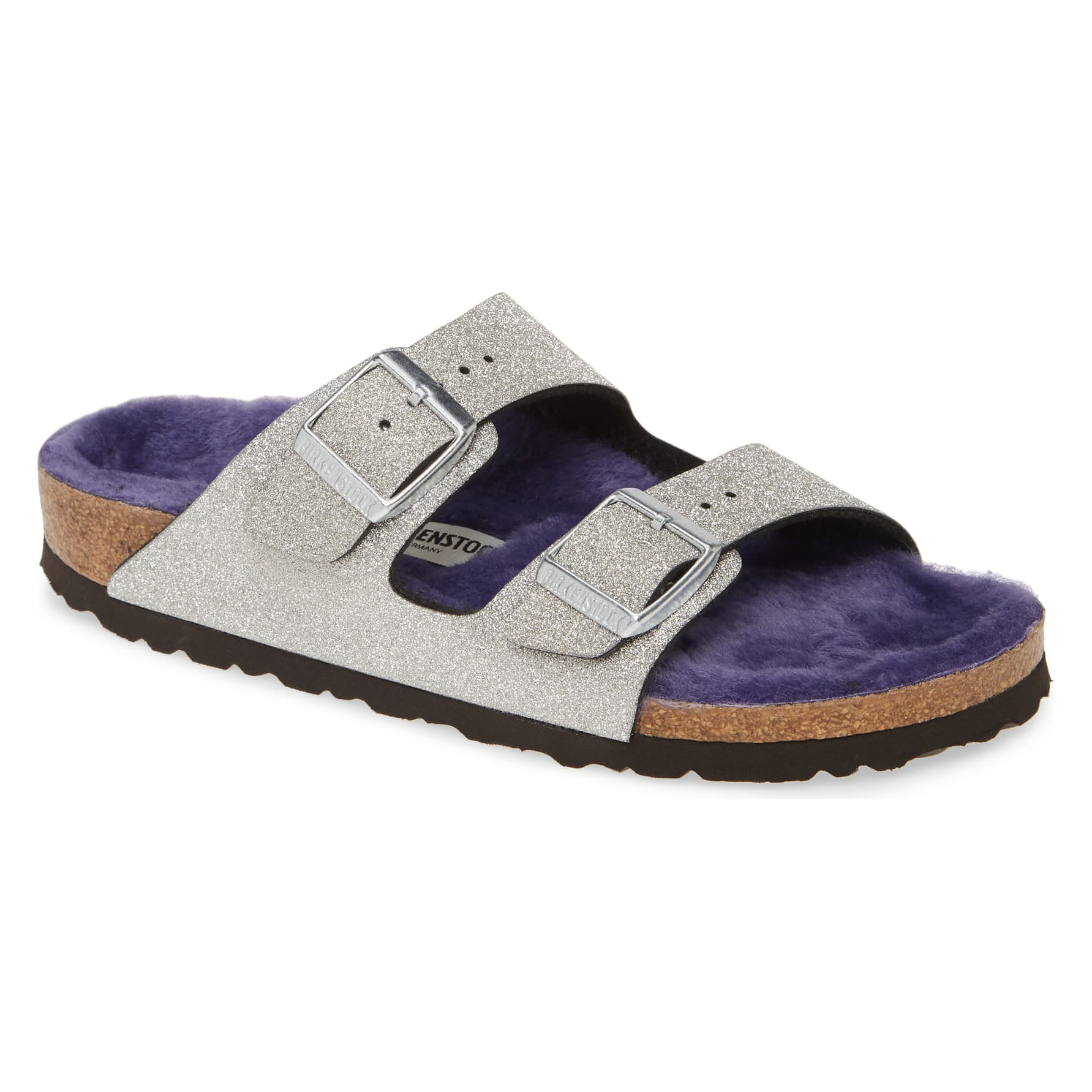 Birkenstock Arizona Glitter Dust Genuine Shearling Slide