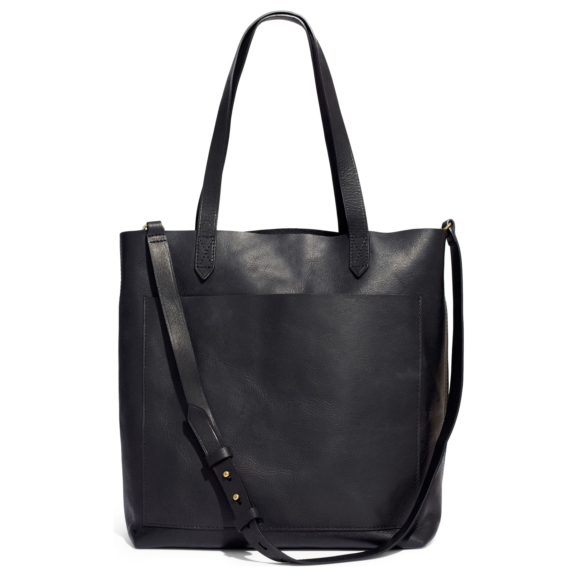 Madewell Medium Leather Transport Tote Black