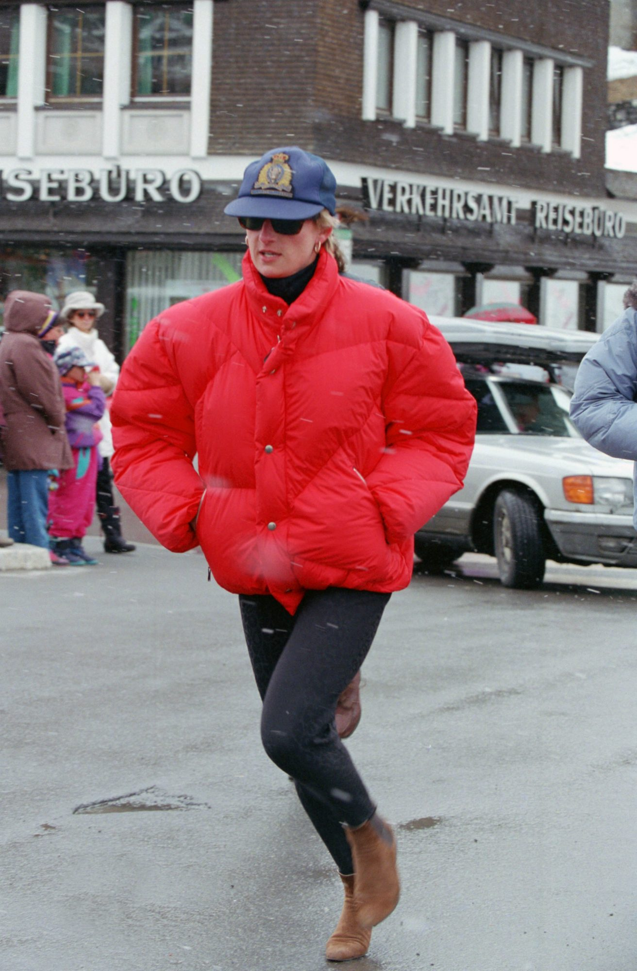 Princess Diana Wear a Red Puffer Jacket