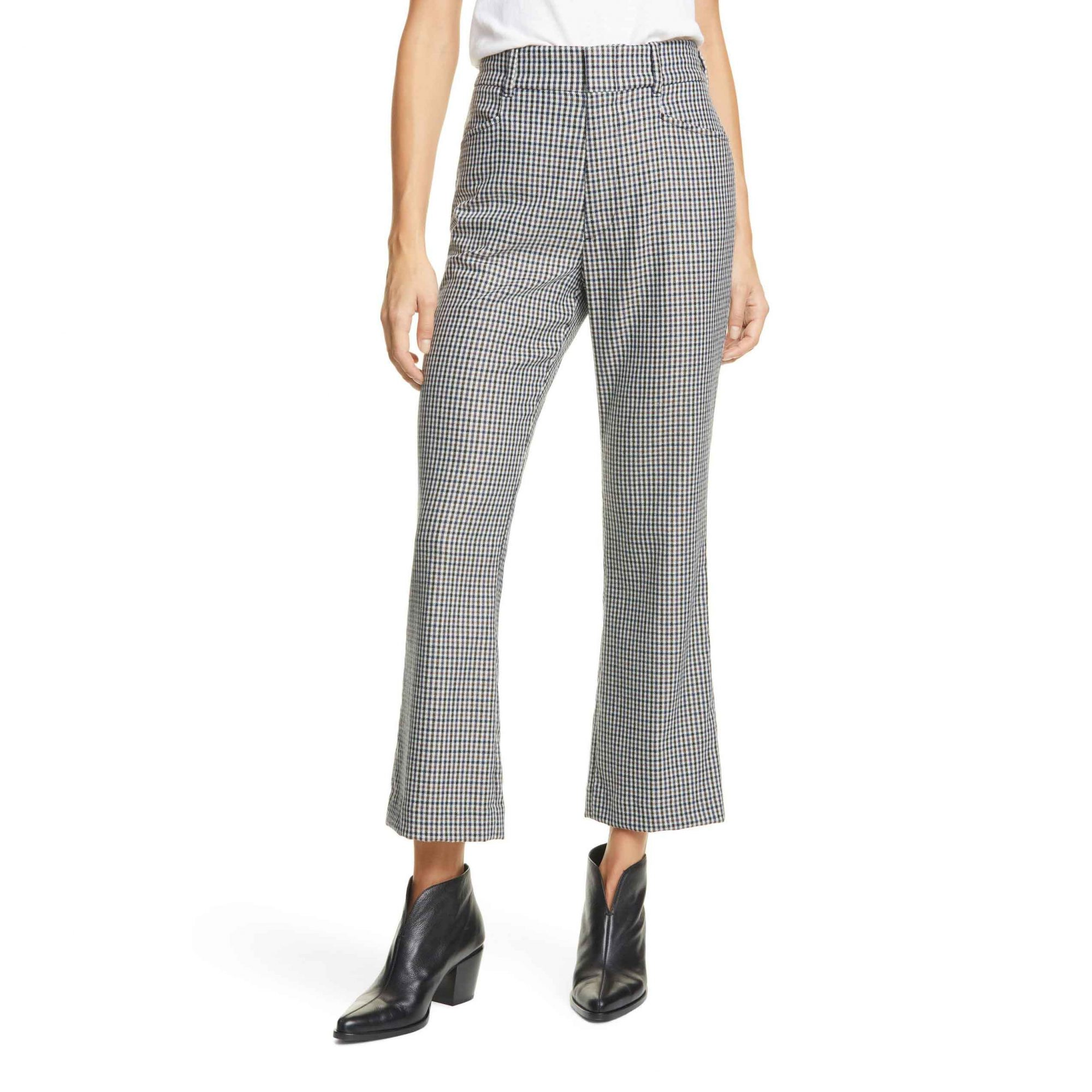 Re/Done '70s Plaid Wool Blend Crop Flare Trousers