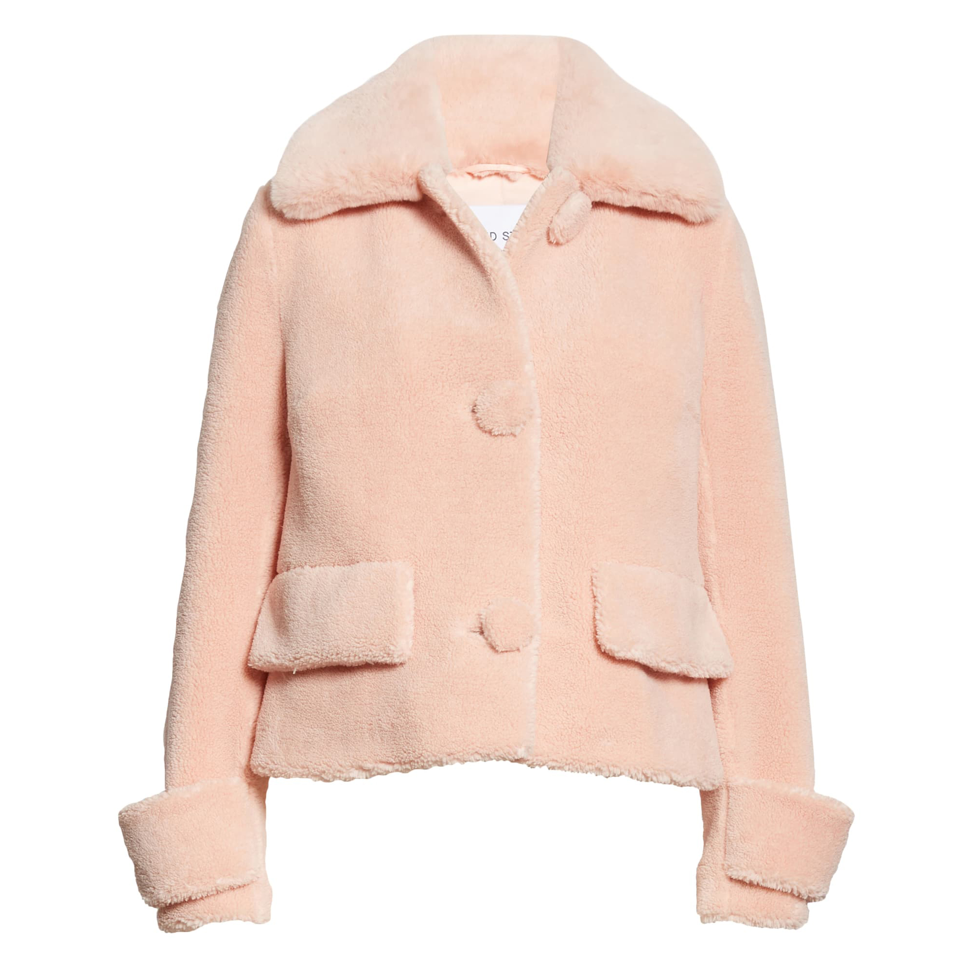 Nordstrom Stand Studio Regina Faux Fur Crop Teddy Jacket in Seashell Pink
