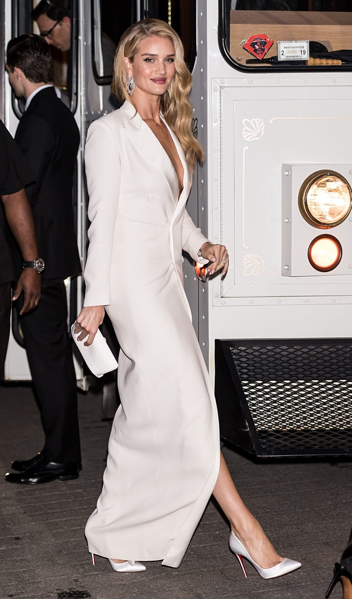 Rosie Huntington-Whiteley in a Ralph Lauren Tuxedo Dress