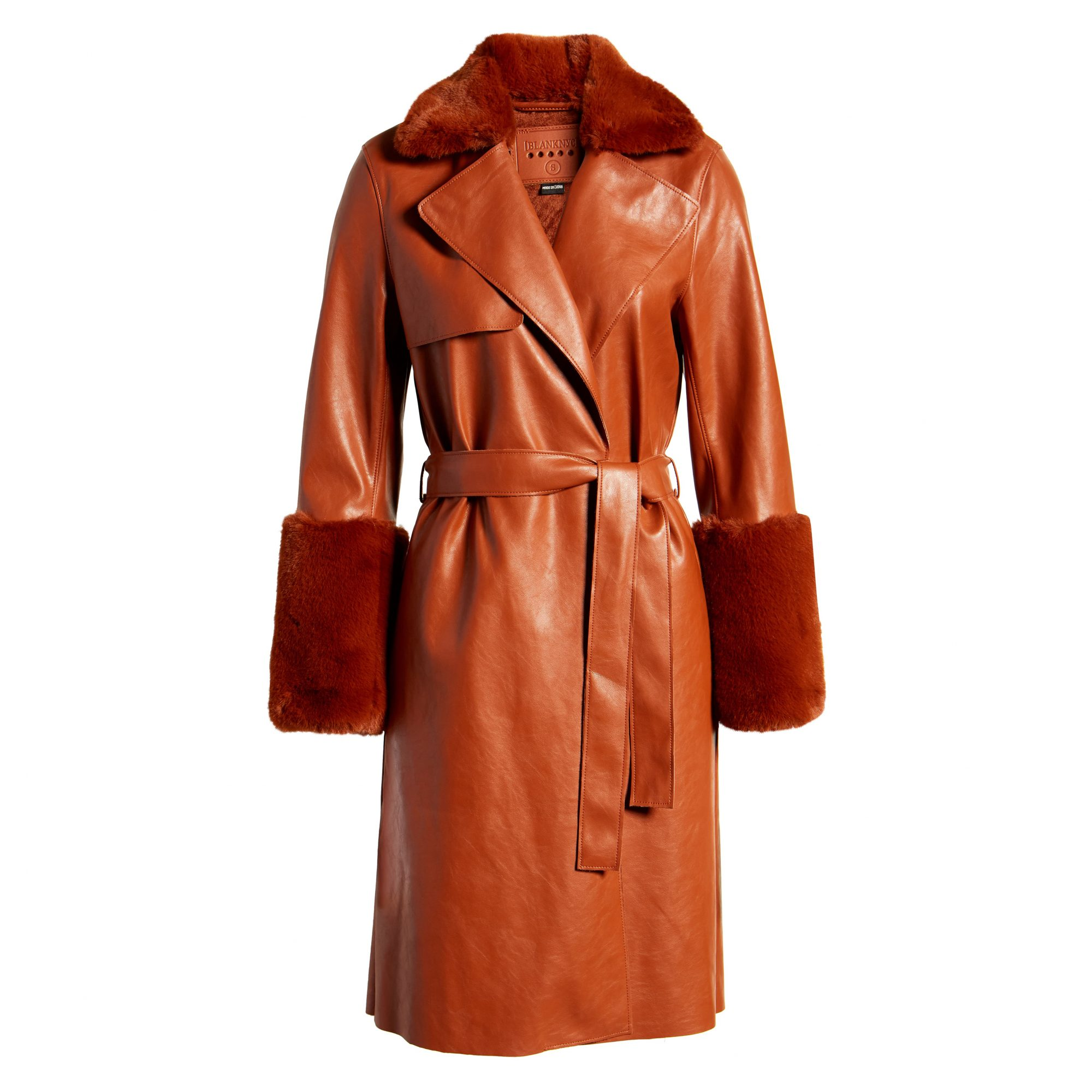 BLANKNYC Faux Leather Coat with Faux Fur Trim