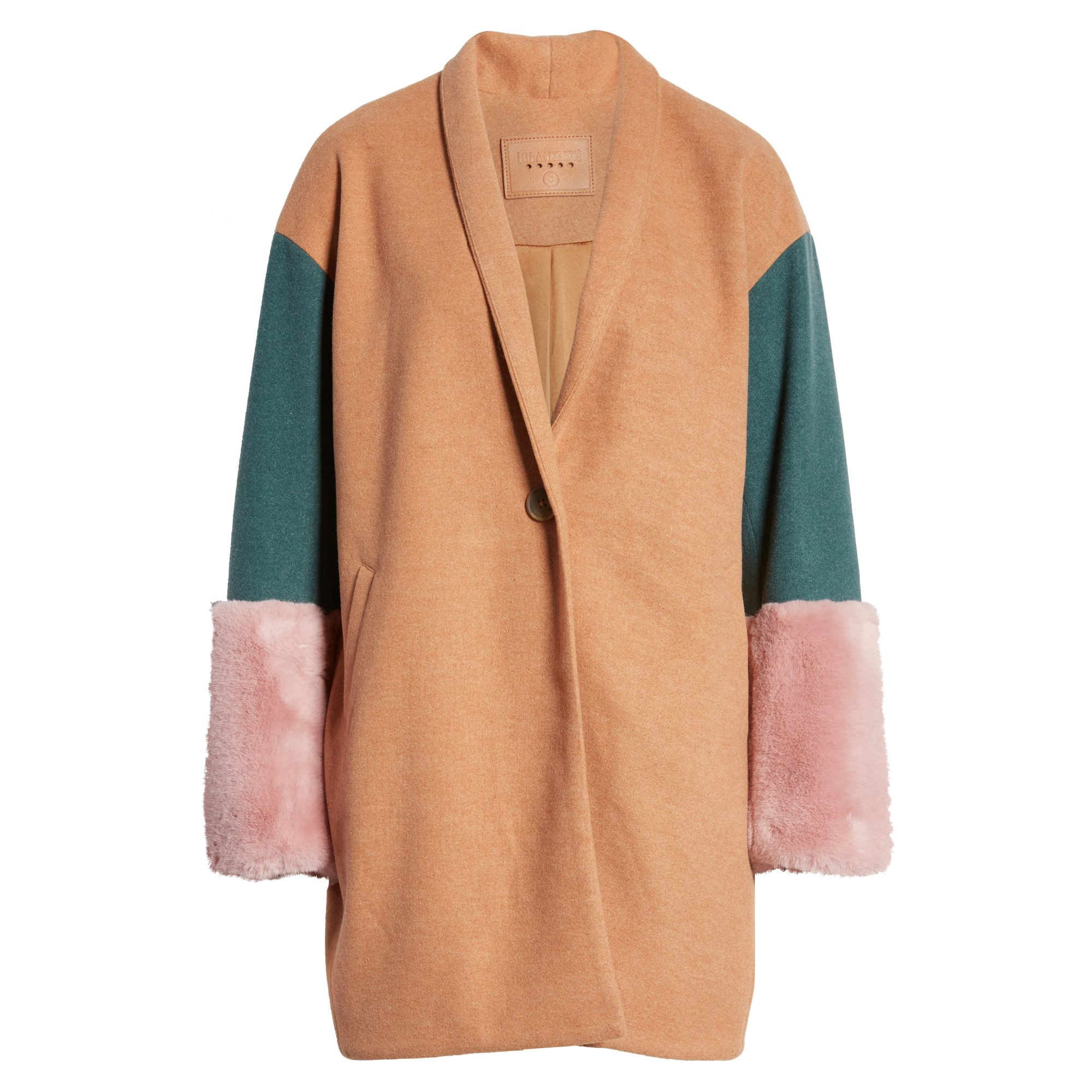 BLANKNYC Out of Office Faux Fur Cuff Coat