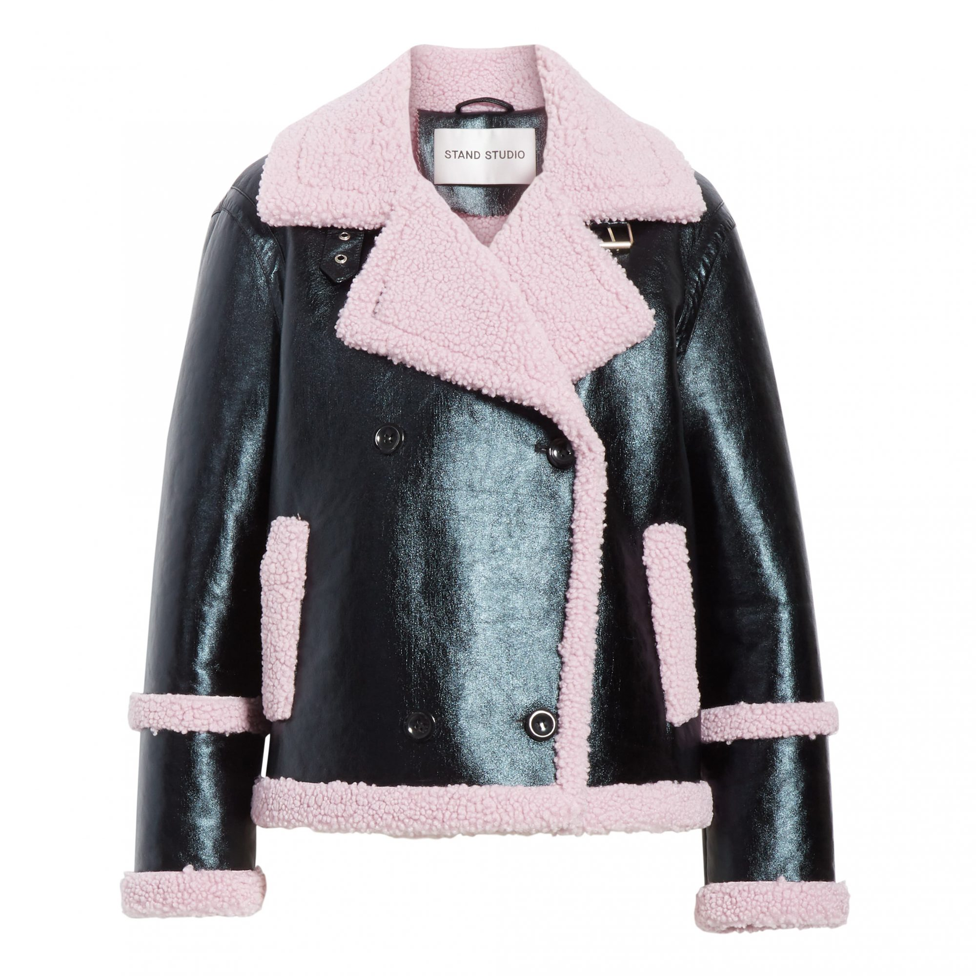 Stand Studio Lilly Colorblock Faux Shearling Jacket