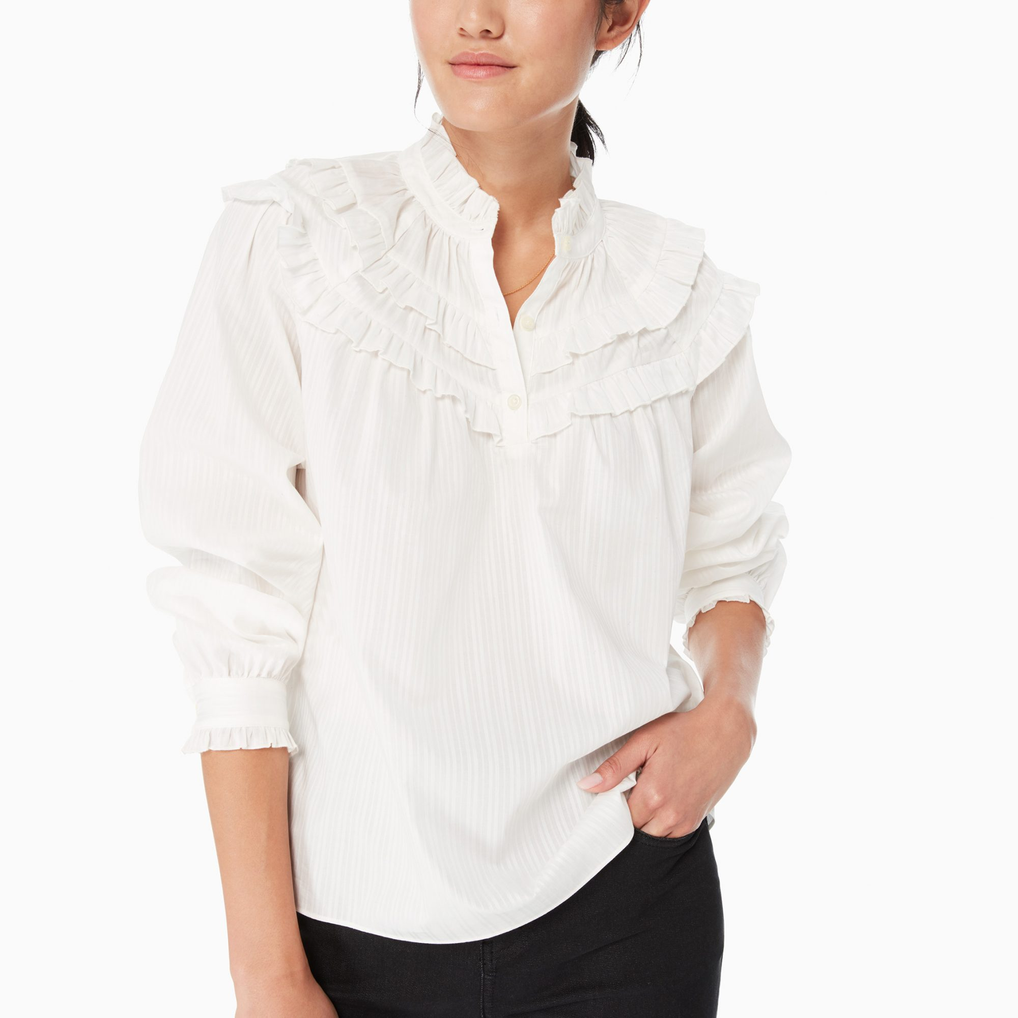 Glen Stripe Ruffle Top