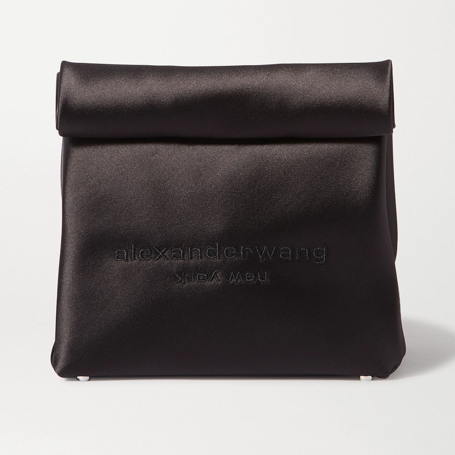 Alexander Wang Lunch Bag embroidered satin clutch Black