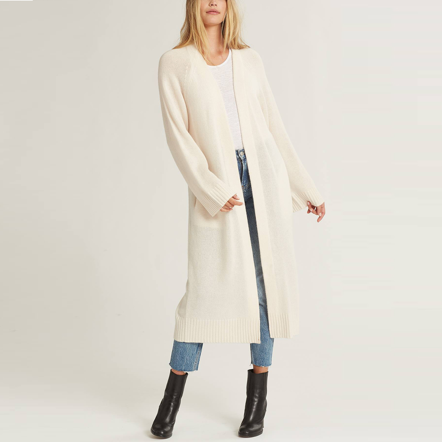 Makena Pure Cashmere Long Cardigan in Chalk