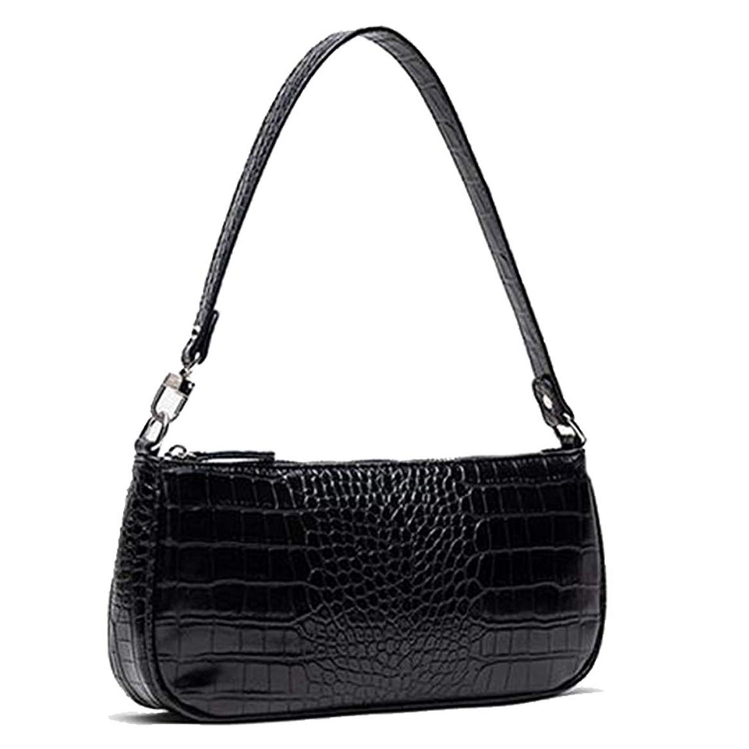 Barabum Retro Classic Crocodile Pattern Clutch Black