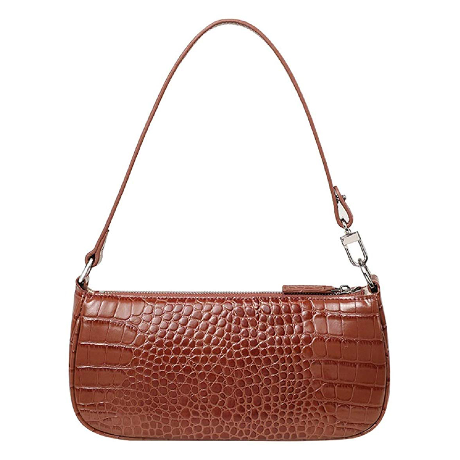 Barabum Retro Classic Crocodile Pattern Clutch Brown