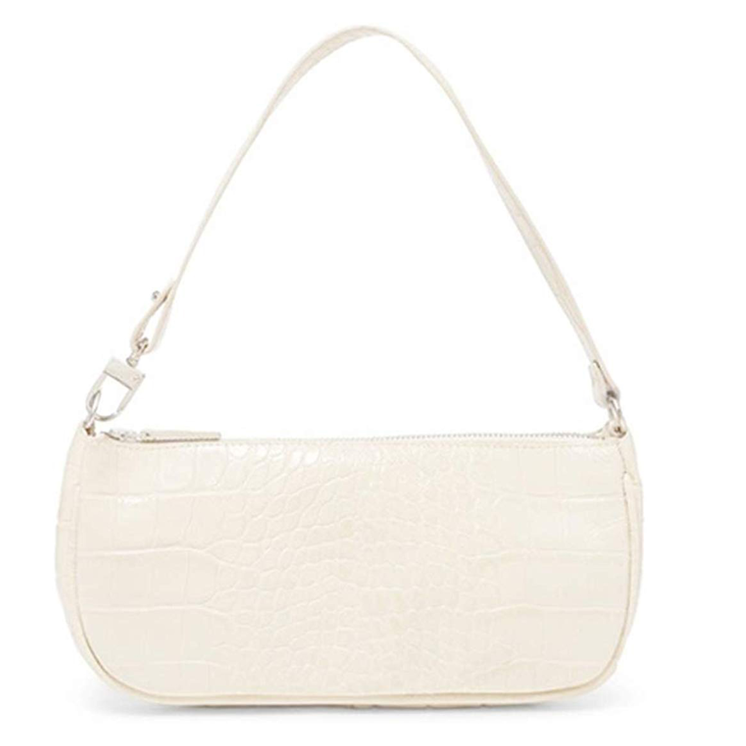 Barabum Retro Classic Crocodile Pattern Clutch Off-White