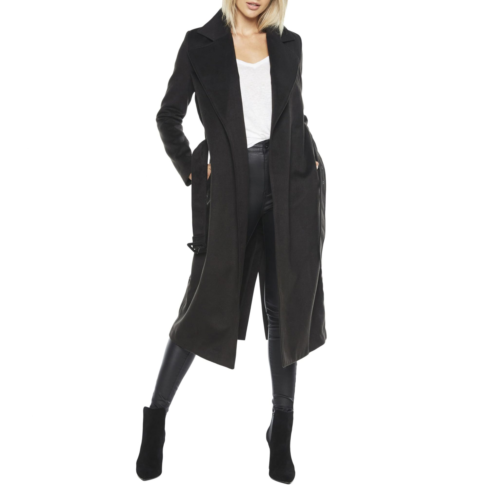 Bardot Belted Faux Suede Long Trench Coat