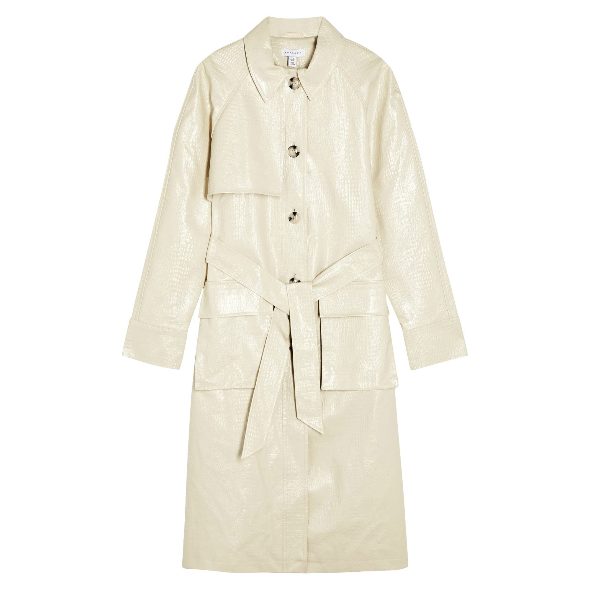 Topshop Croc Embossed Faux Leather Trench Coat