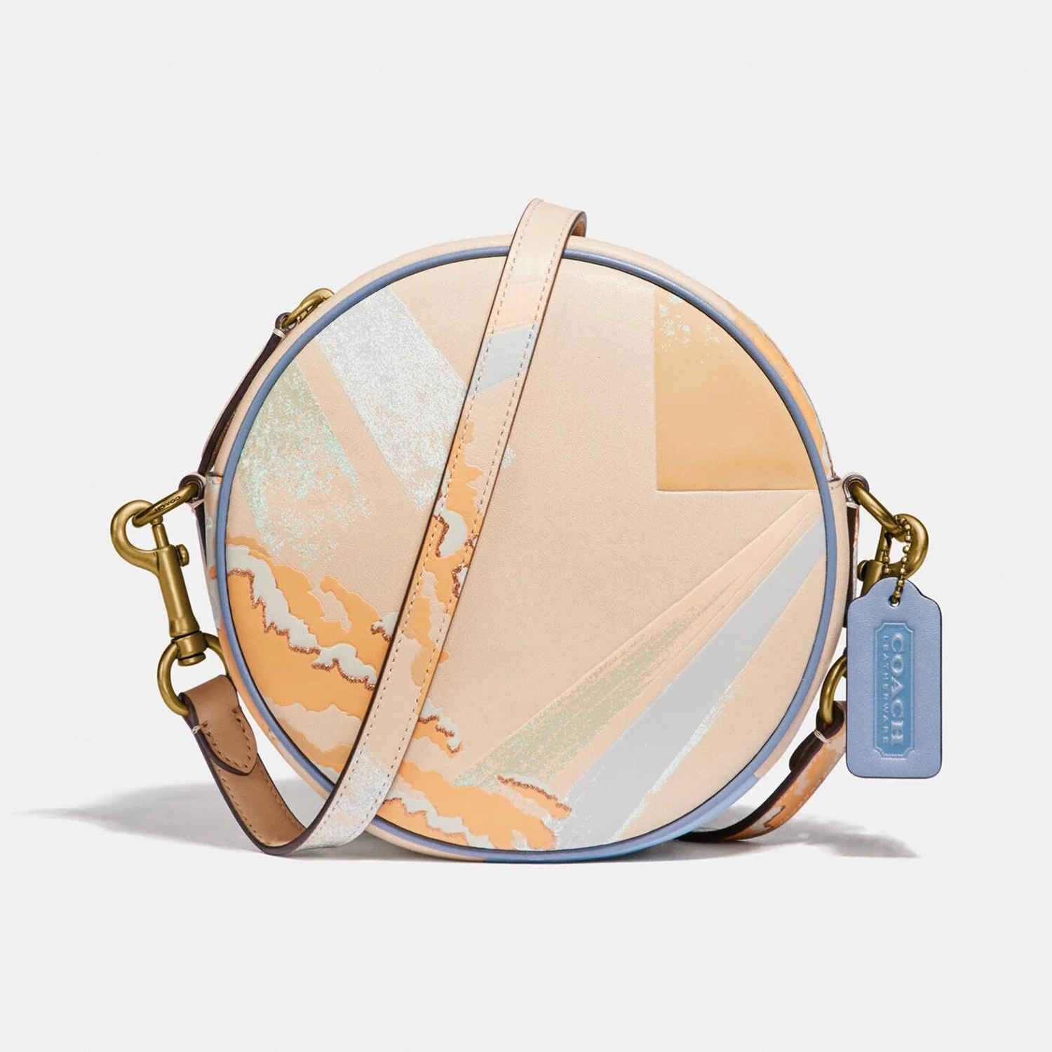 Buy Now Circle Crossbody With Abstract Cloud Print