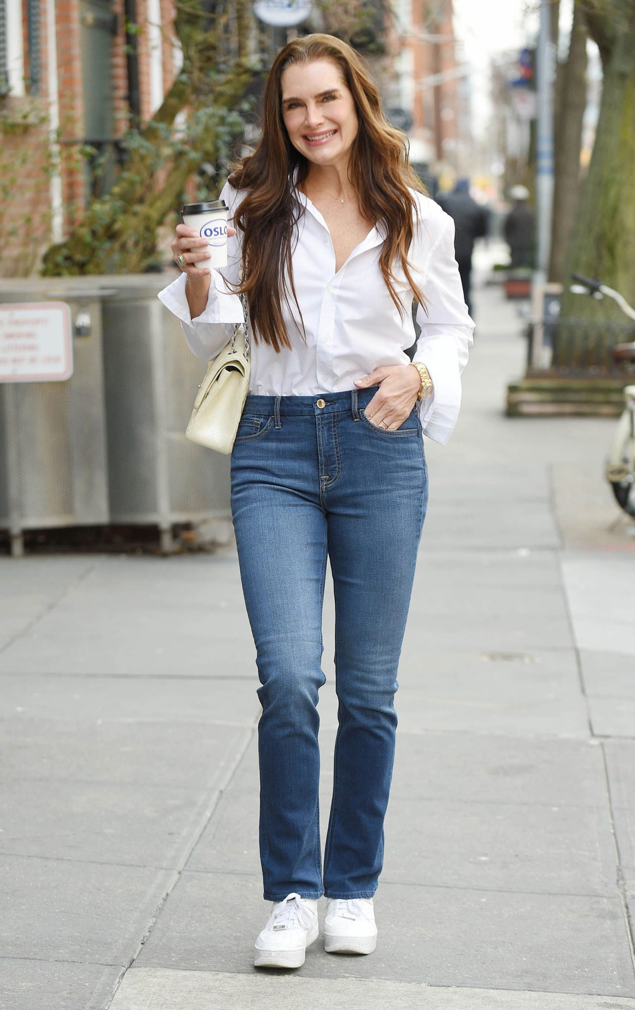 Brooke shield's wore these comfy, under-$100 jeans in the most classic way