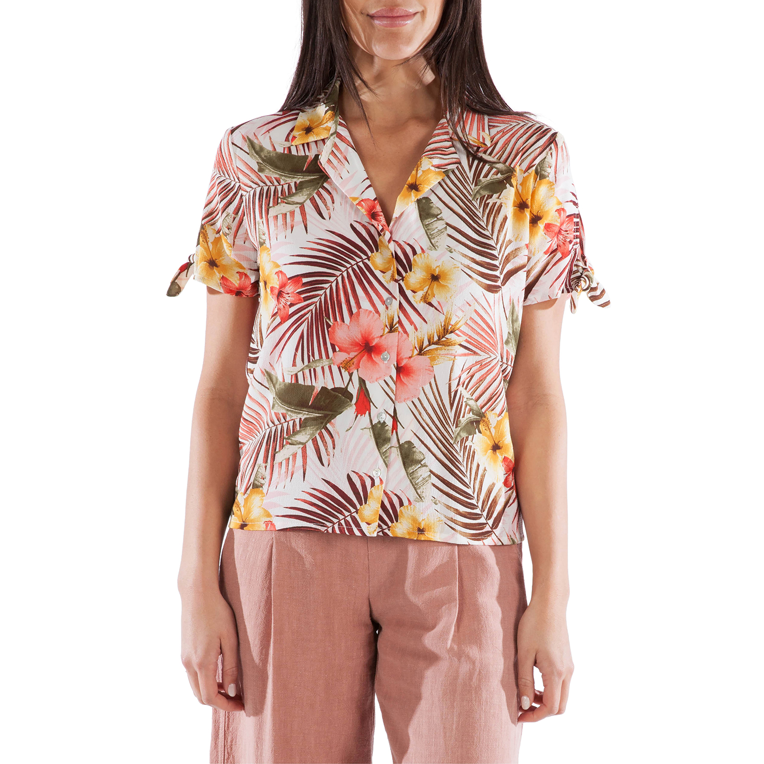 KUT Kloth Gladdys Tropical Print Tie Sleeve Blouse