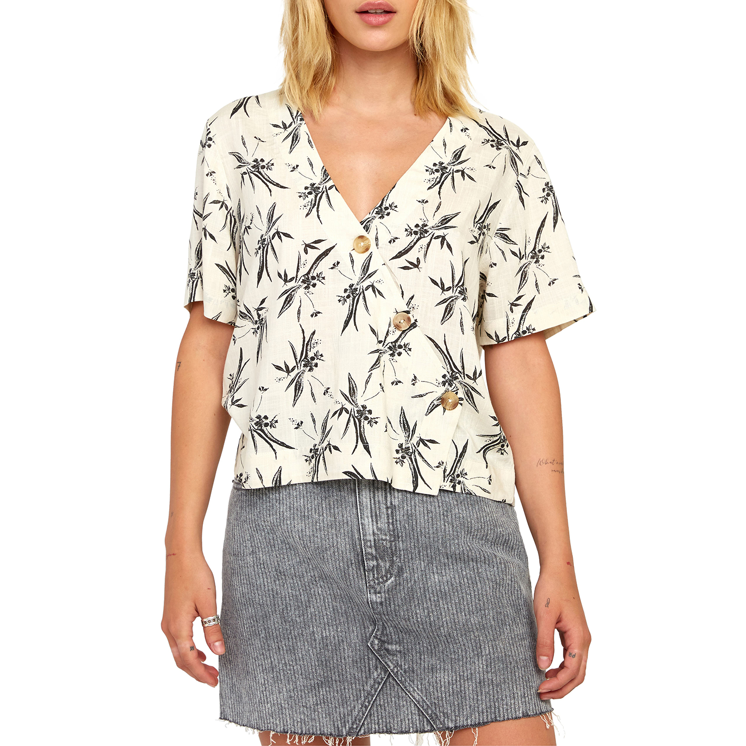 RVCA Farrell Graphic Button-Up Top