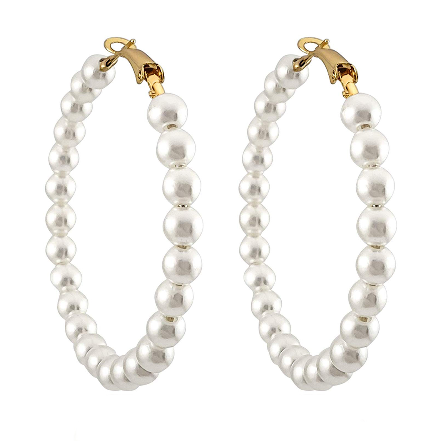 Pearl Hoop Earrings Dangle Hypoallergenic Layer Earrings