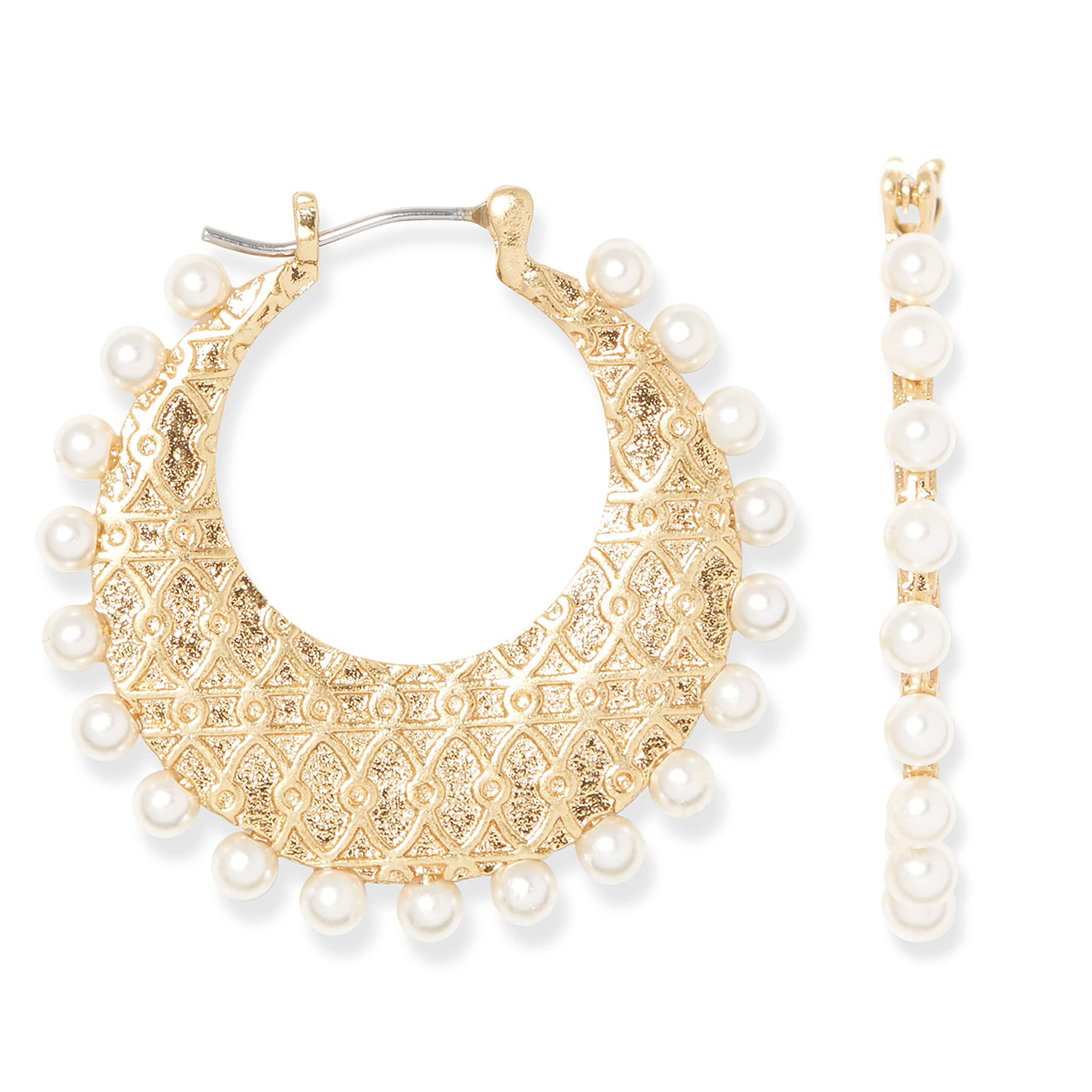 Sole Society Imitation Pearl Hoop Earrings