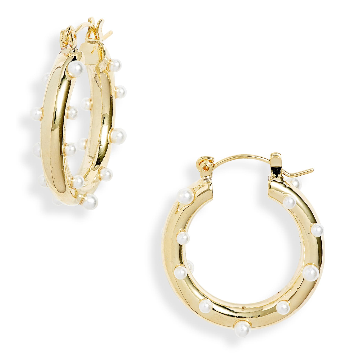 Ten79LA Imitation Pearl Hoop Earrings