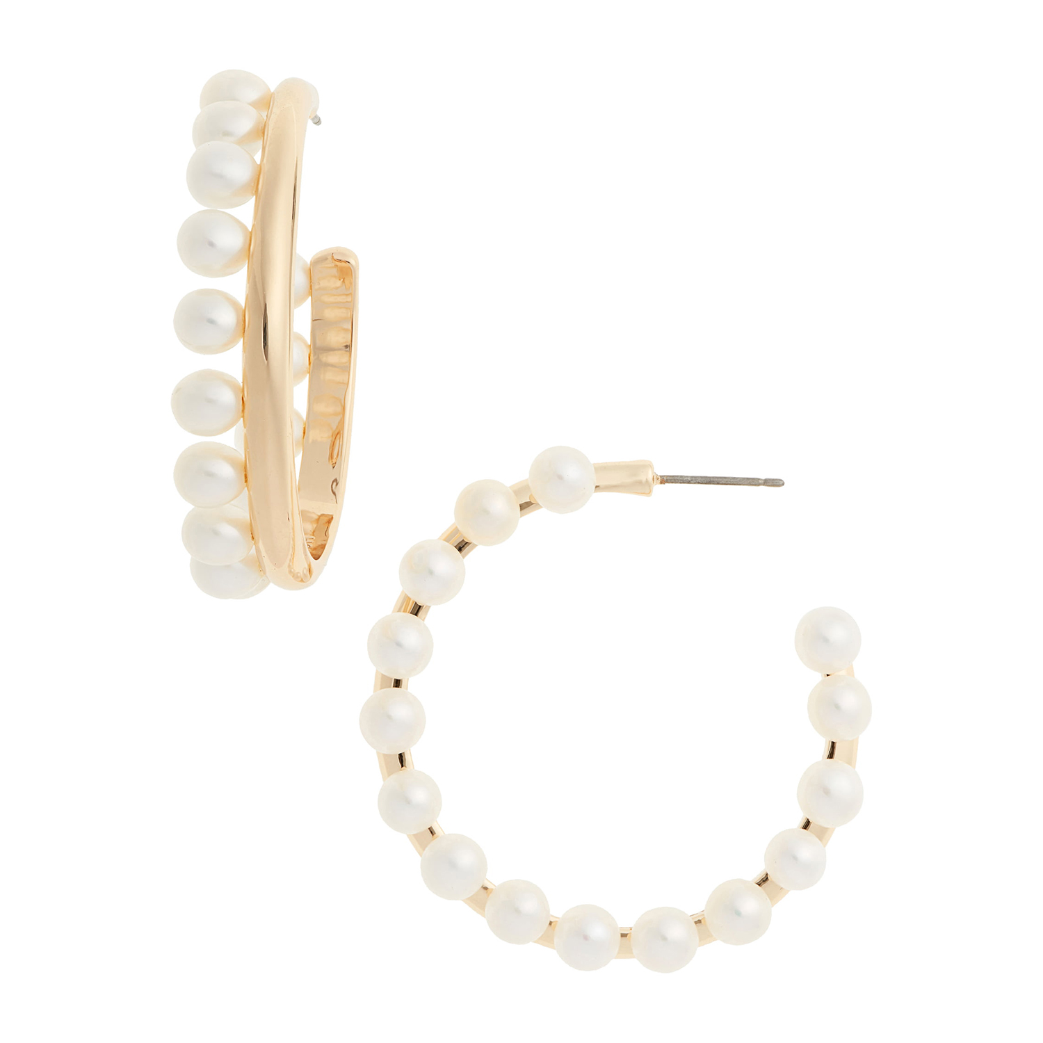 Tory Burch Pearl Fringe Hoop Earrings