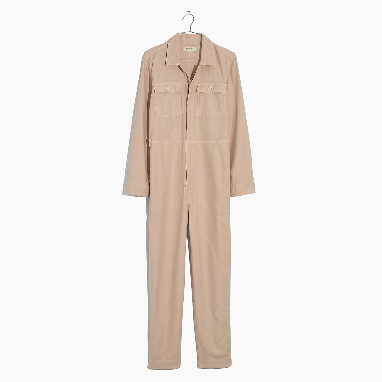 Garment-Dyed Zip-Front Coverall Jumpsuit