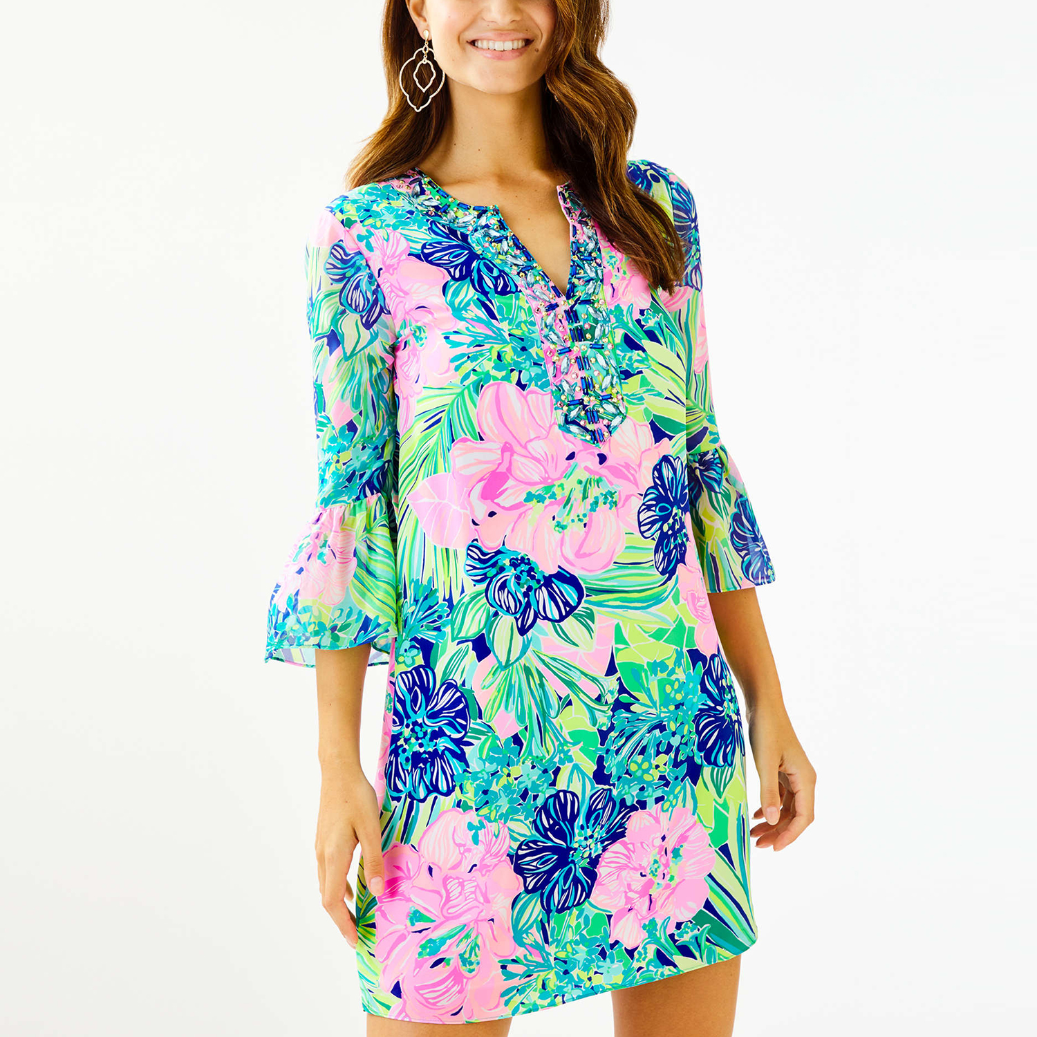 Elenora Silk Dress in Multi Island Escape
