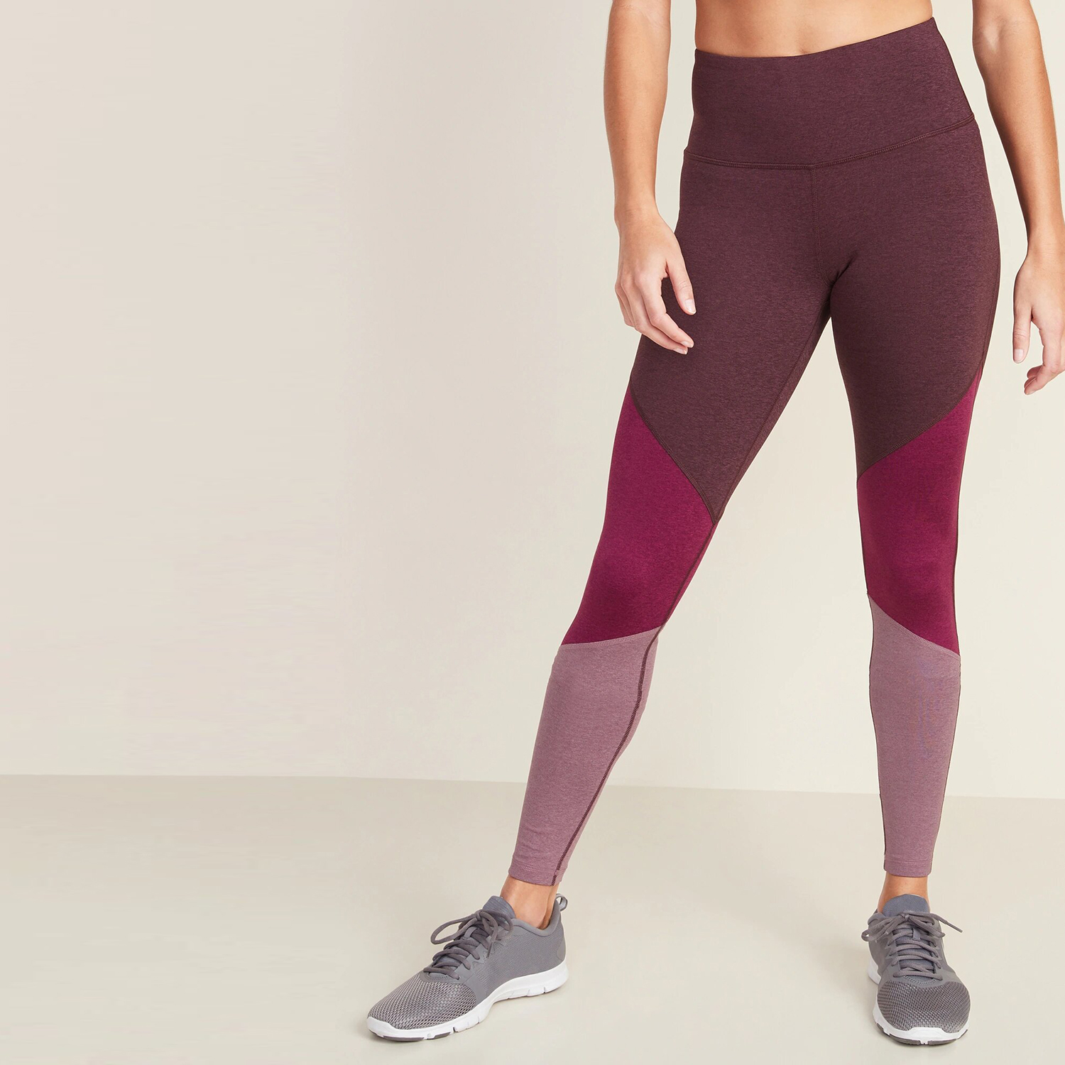 High-Waisted Elevate Color-Blocked Compression Leggings