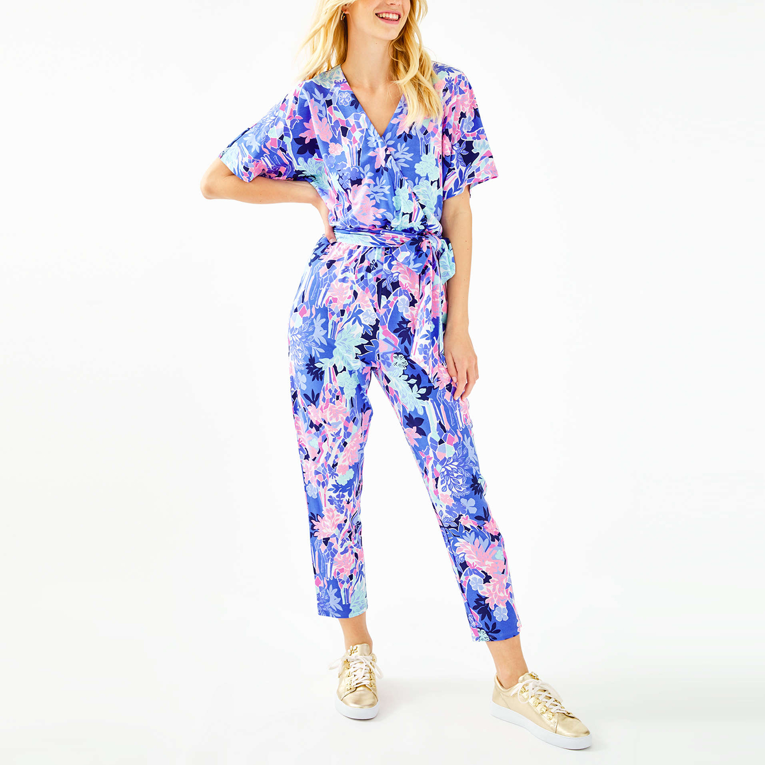 Maliah Jumpsuit in Iris Blue Giraffic Park