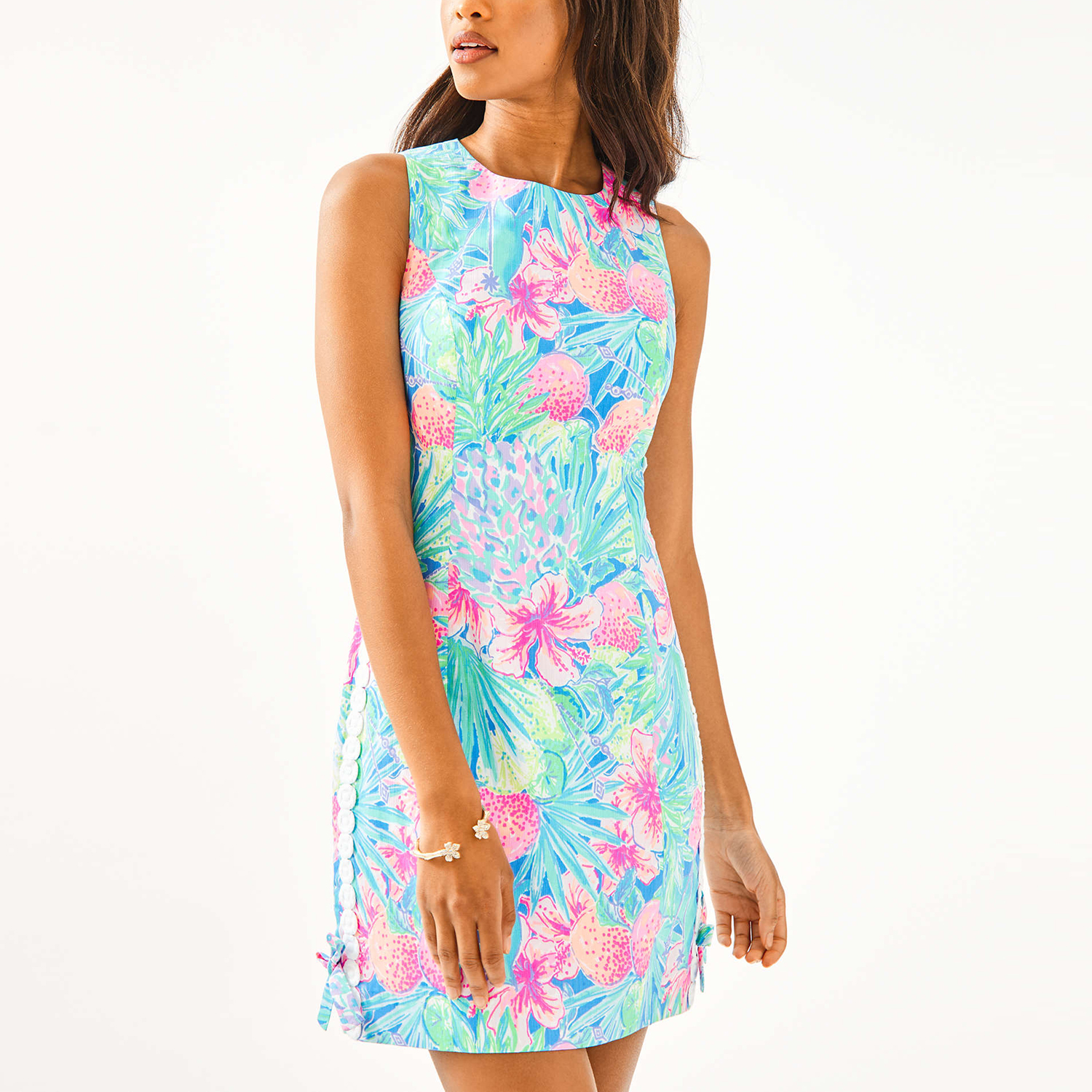 Mila Stretch Shift Dress in Multi Swizzle In