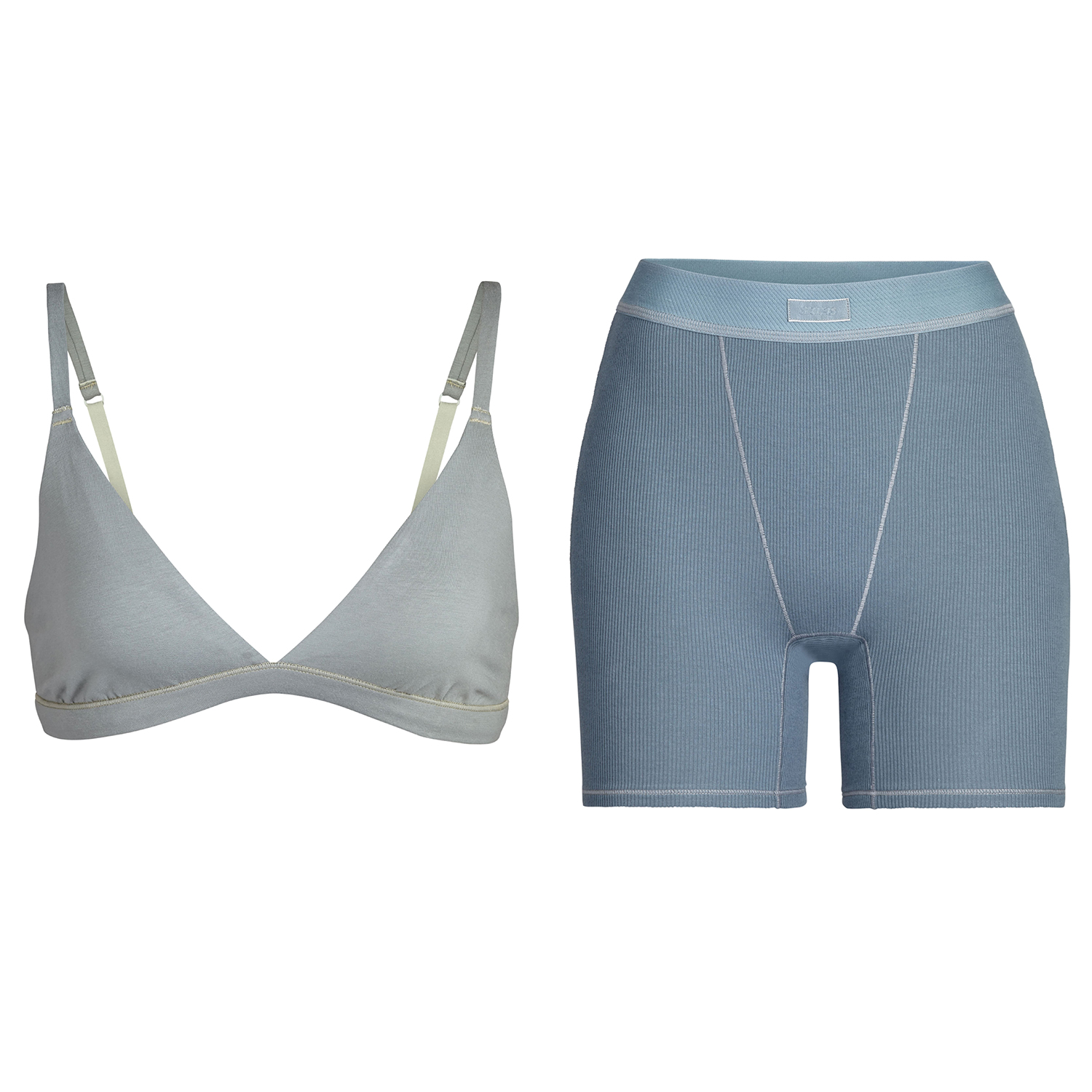 SKIMS Cotton Triangle Bralette and Rib Boxers Split