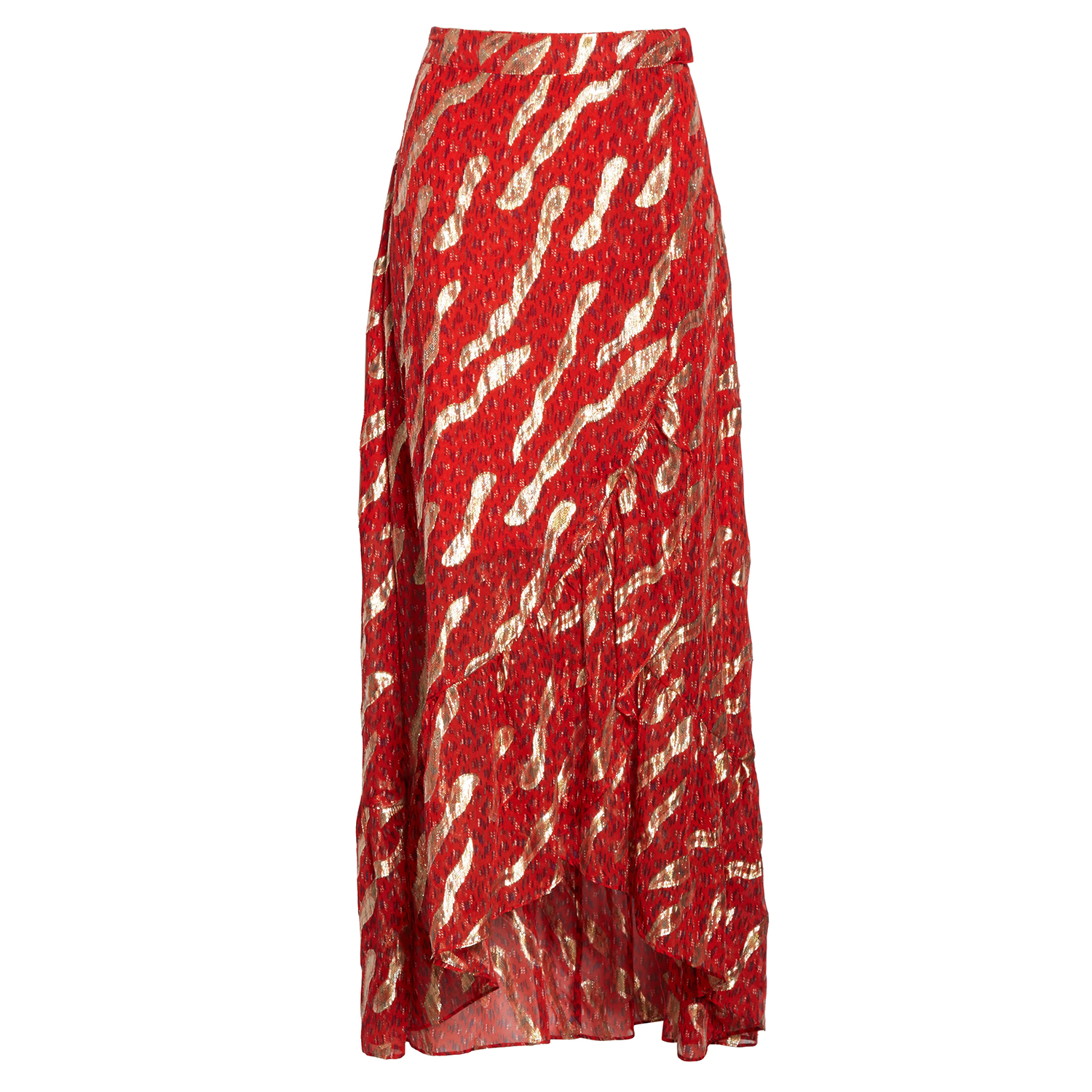 ba&sh Hada Metallic Print Silk Skirt