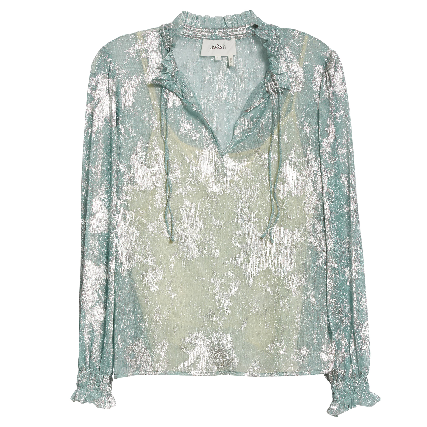 ba&sh Stana Metallic Detail Long Sleeve Blouse