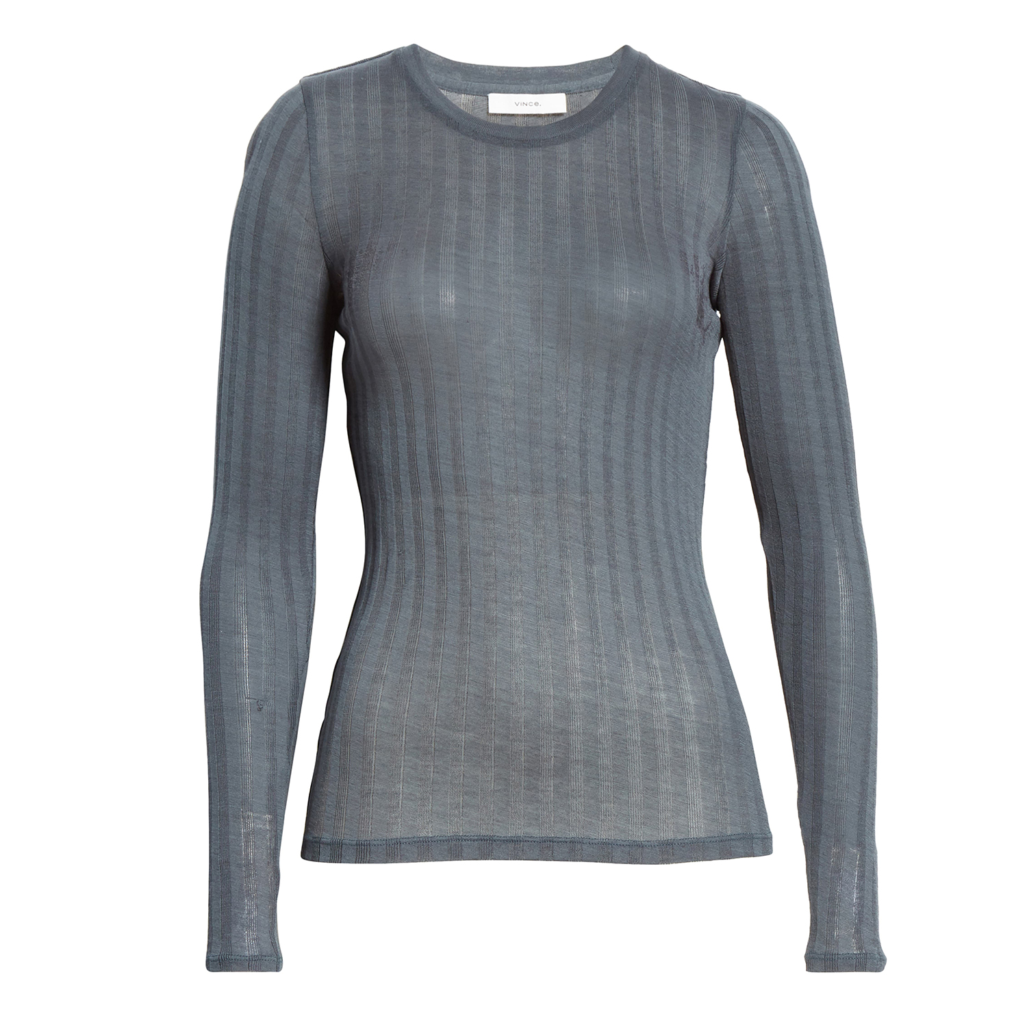 Vince Ribbed Crewneck Cotton Sweater