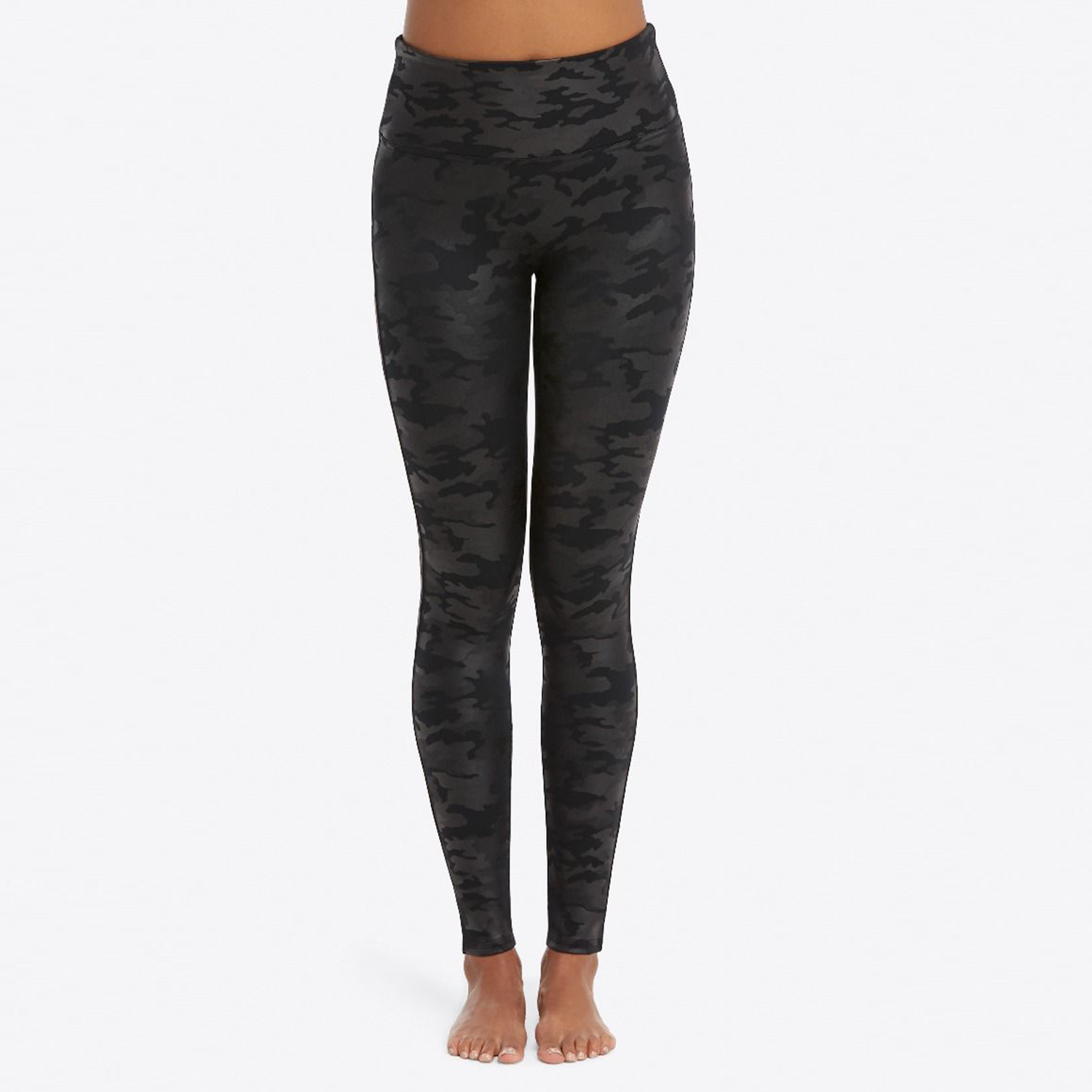 Spanx Faux Leather Camo Leggings Matte Black Camo