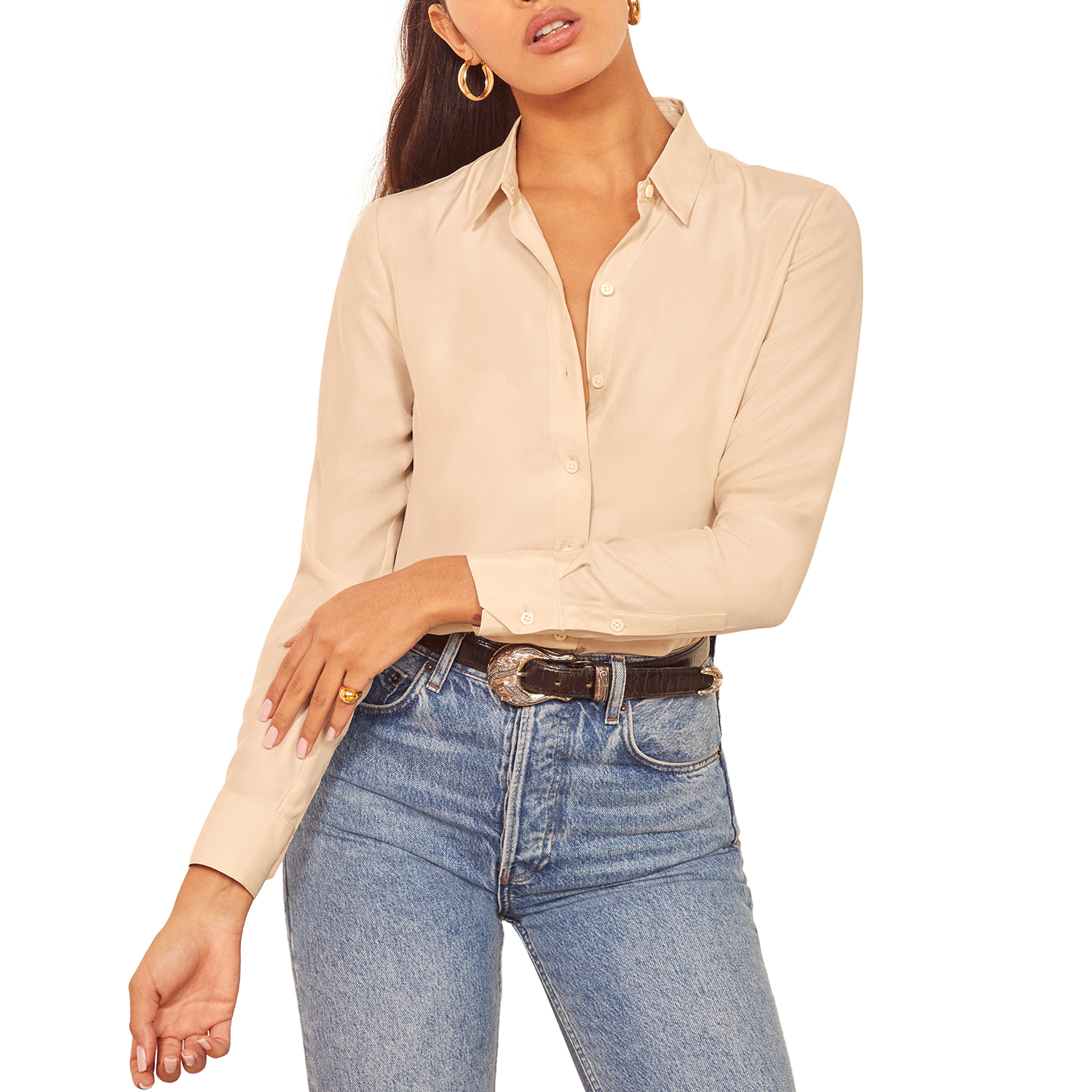 Reformation Anne Button-Up Silk Top