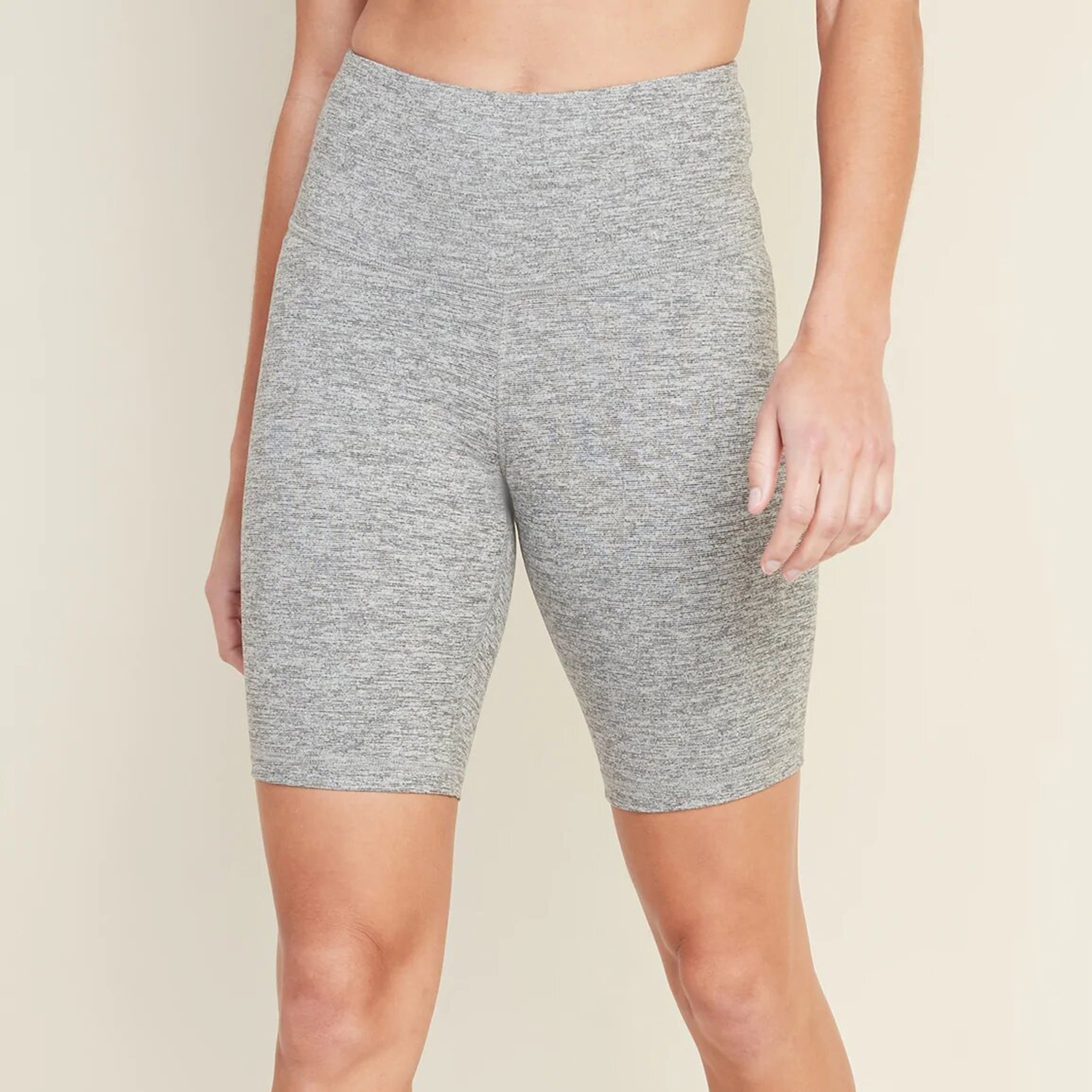 Old Navy High-Waisted Elevate Compression Bermuda Shorts 8-Inch Inseam Heather Grey