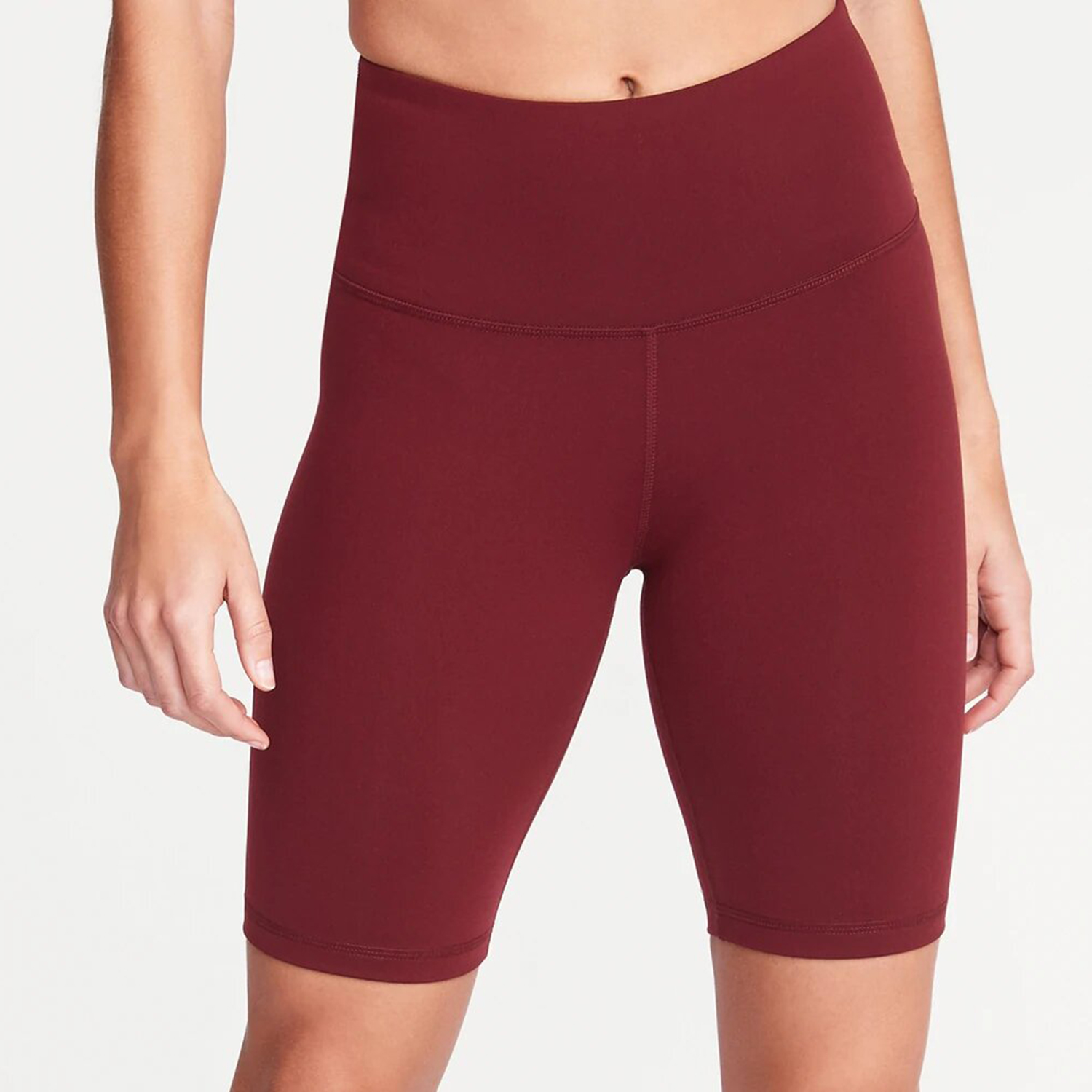 Old Navy High-Waisted Elevate Compression Bermuda Shorts 8-Inch Inseam Maroon Jive