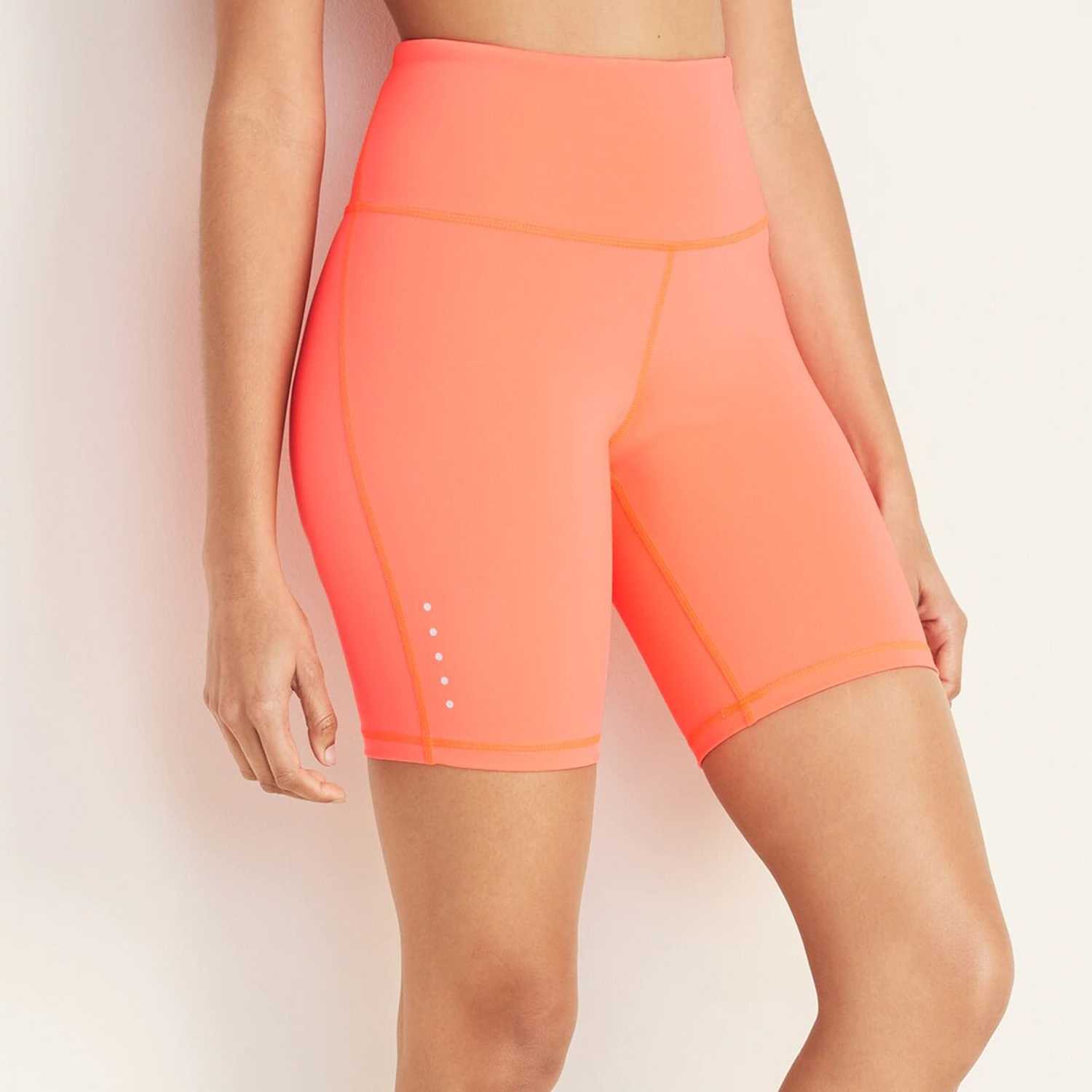 Old Navy High-Waisted Elevate Compression Bermuda Shorts 8-Inch Inseam Sunrise Neon