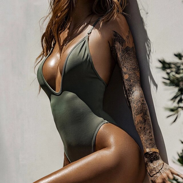 So Chic One Piece Swimsuit Sage