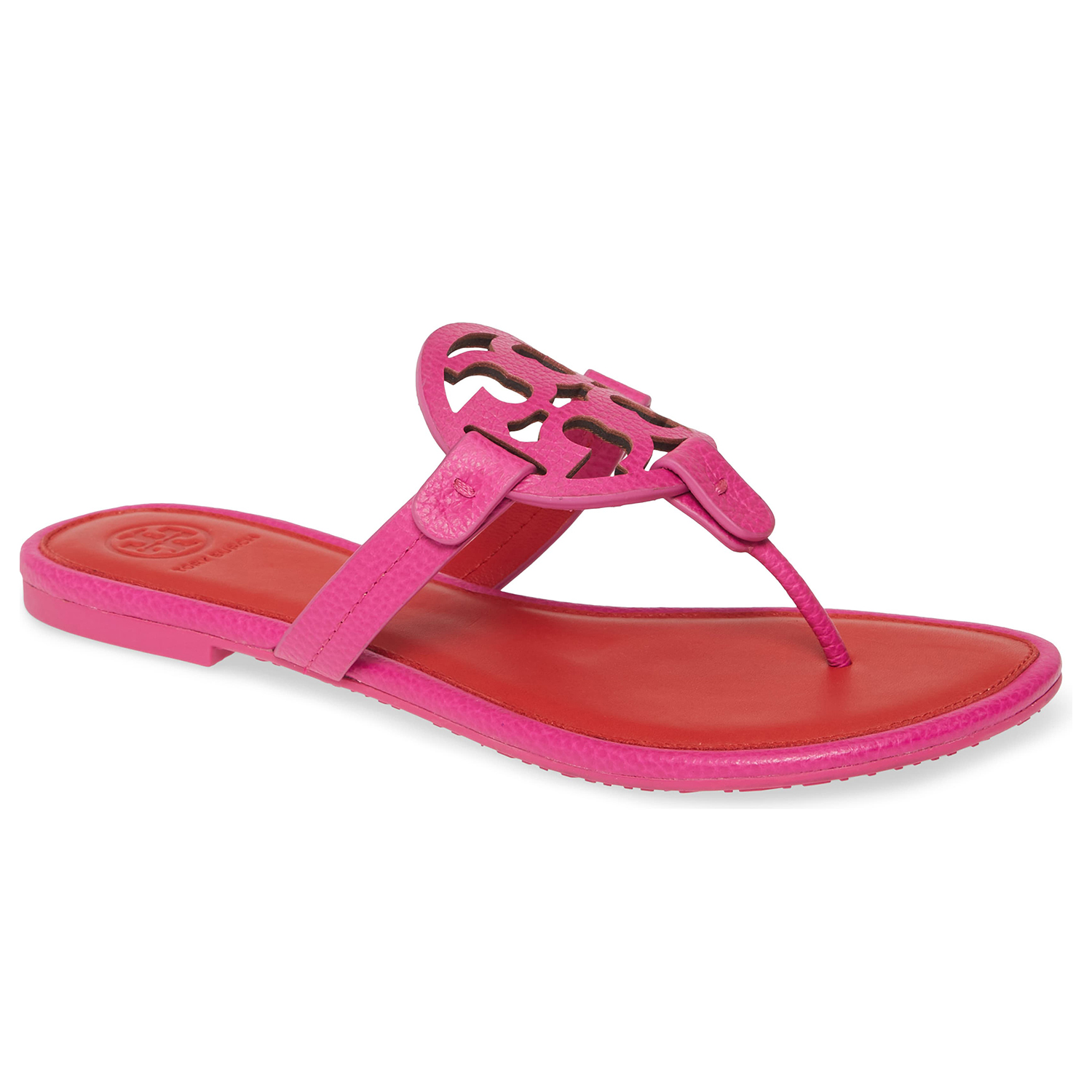 Tory Burch Miller Flip Flop Imperial Pink Brilliant Red