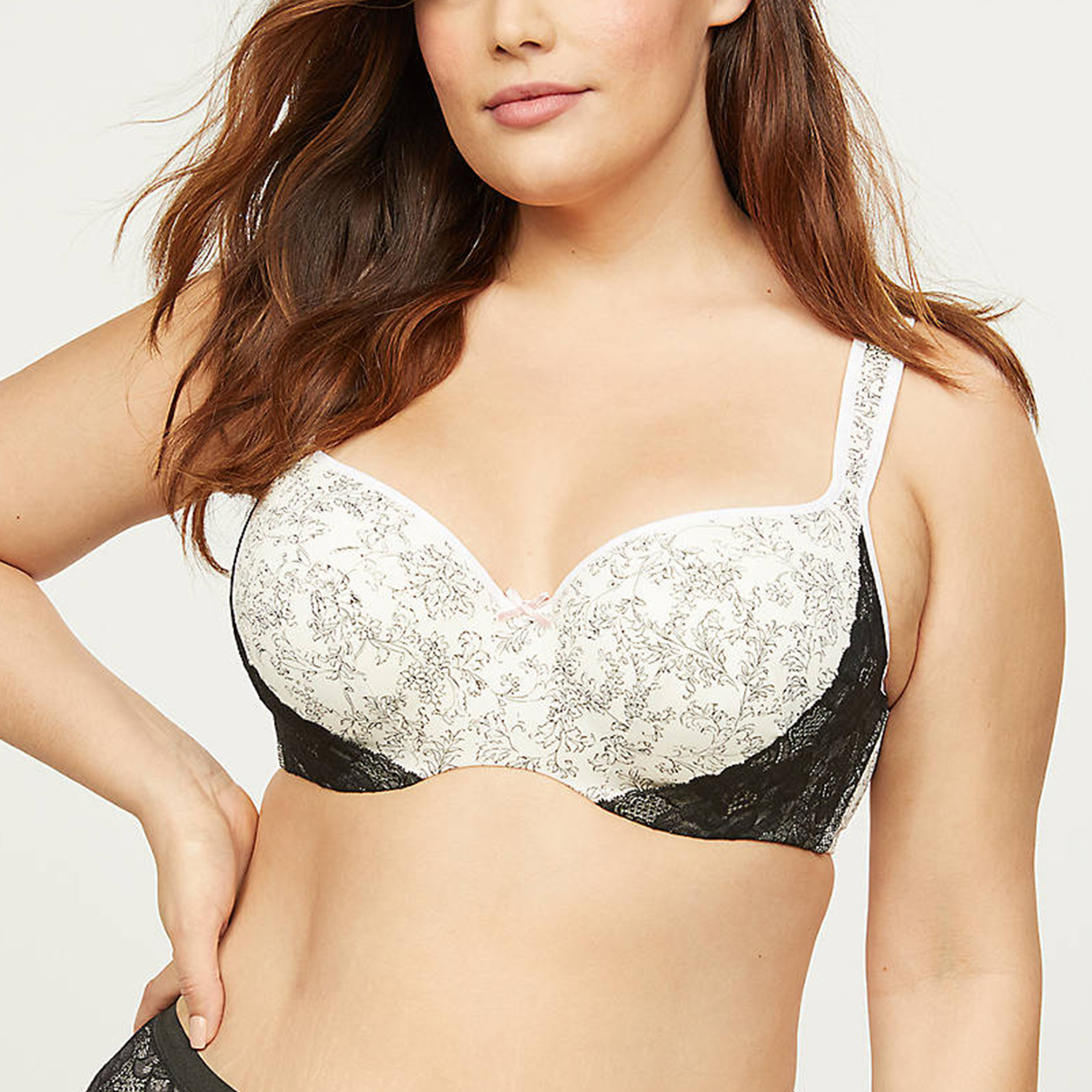 Smooth Lightly Lined Balconette Bra Floral Scroll