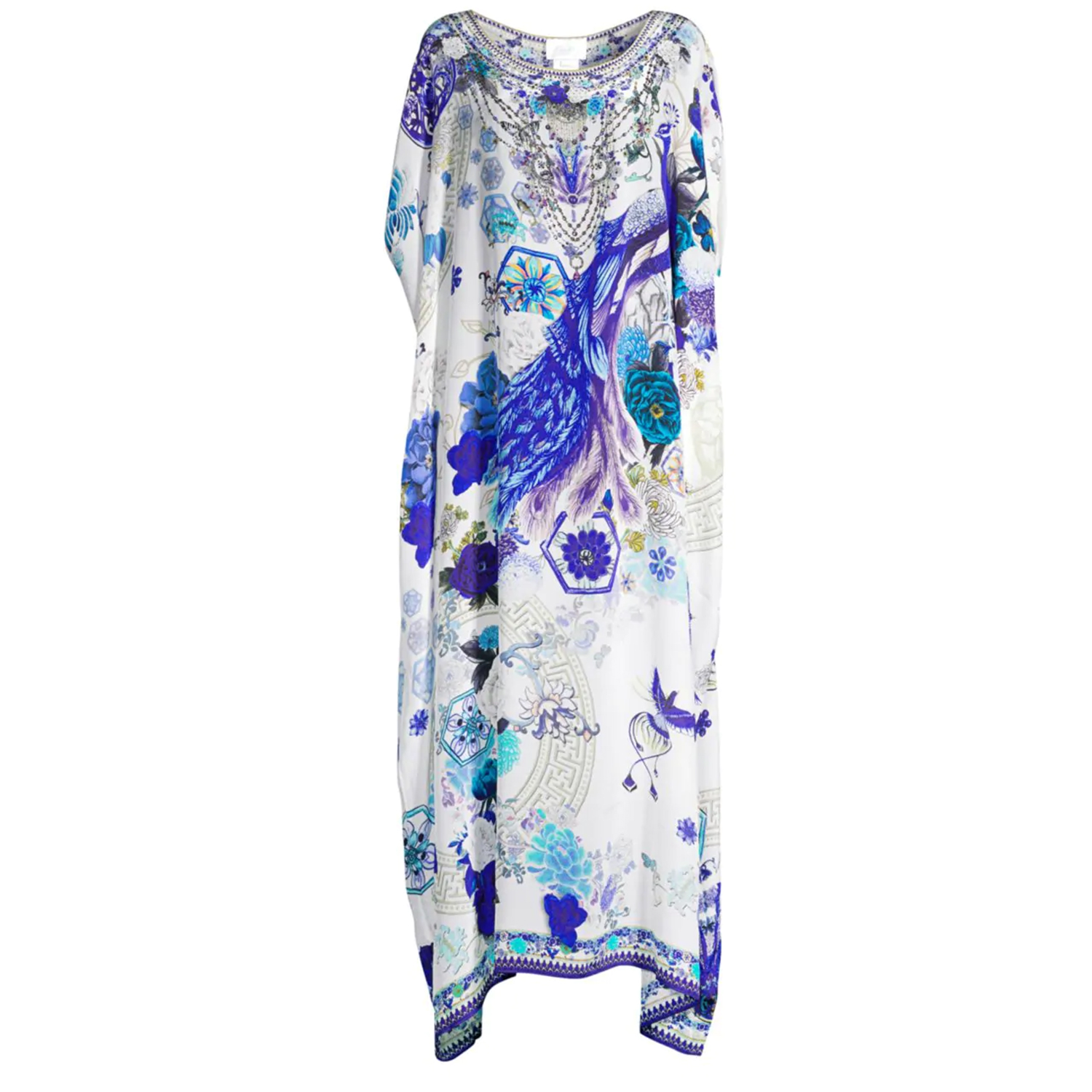 Camilla White Side of The Moon Embellished Silk Caftan