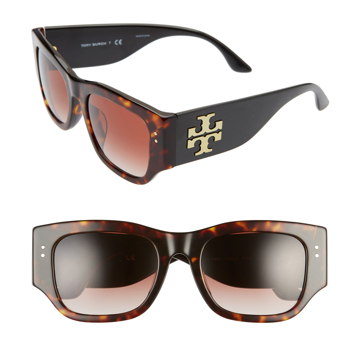 Tory Burch 52mm Gradient Rectangular Sunglasses
