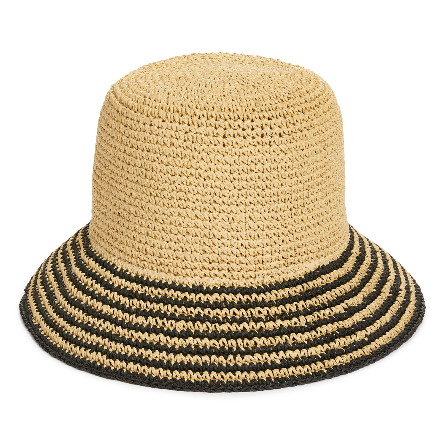 Nordstrom Stripe Brim Straw Bucket Hat