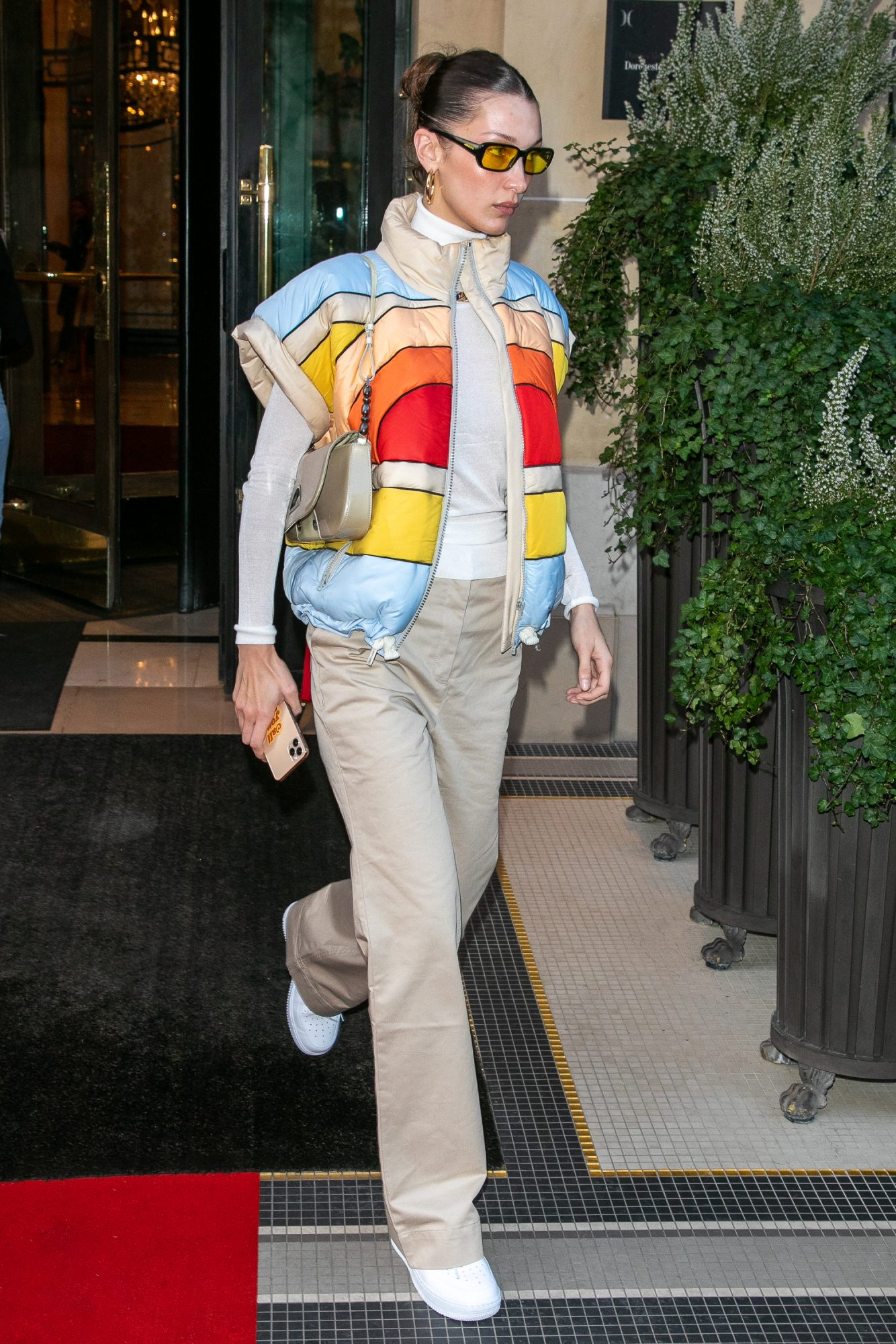 '90s Dad Fashion Trend, Bella Hadid Wearing Khakis and a Vest