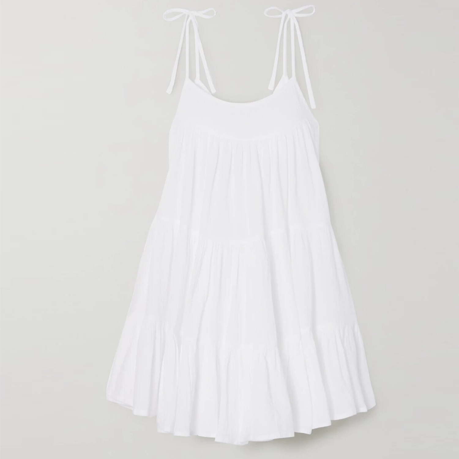 Peri tiered crinkled cotton-gauze mini dress