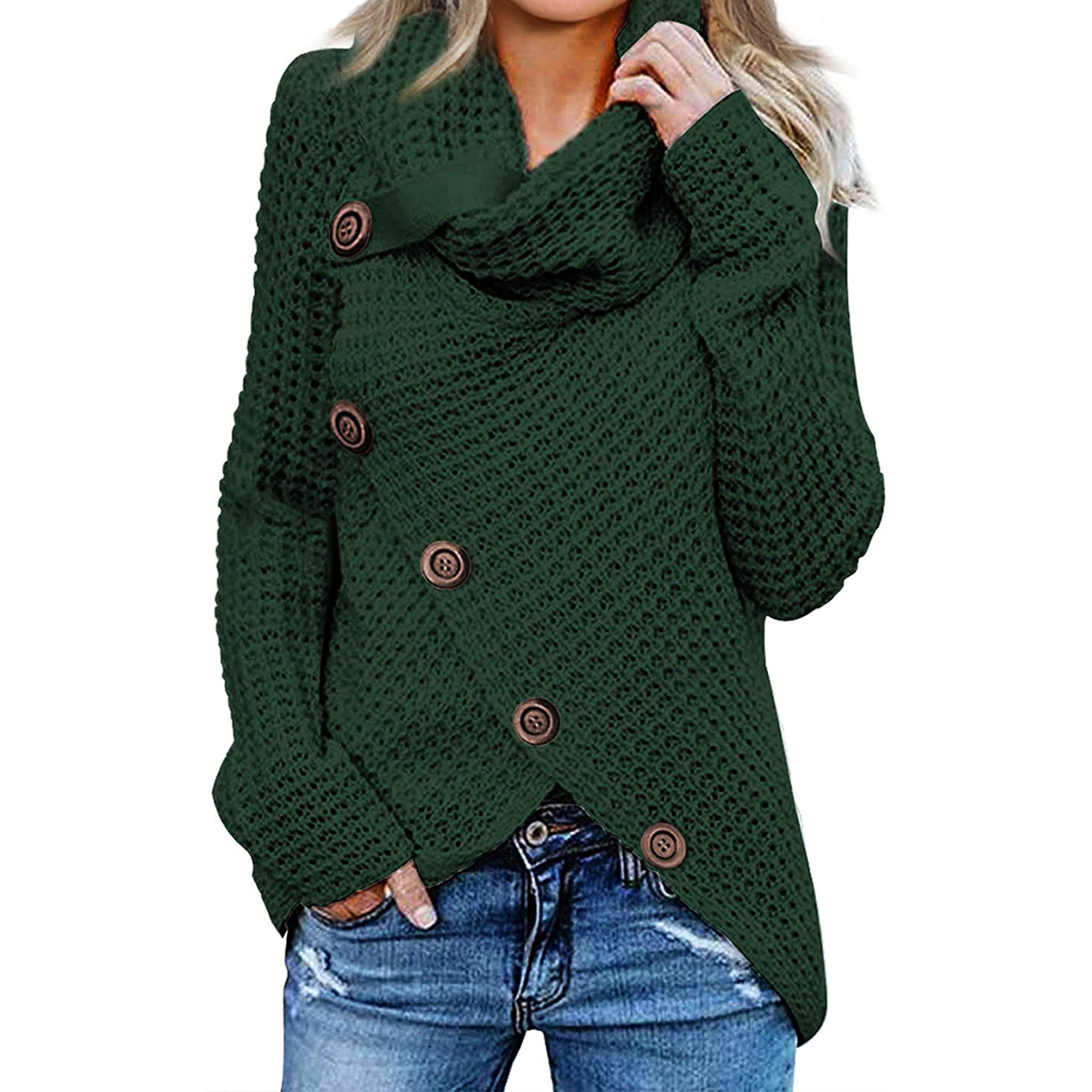 Asvivid Womens Button Turtle Cowl Neck Asymmetric Hem Wrap Pullover Sweater Tops