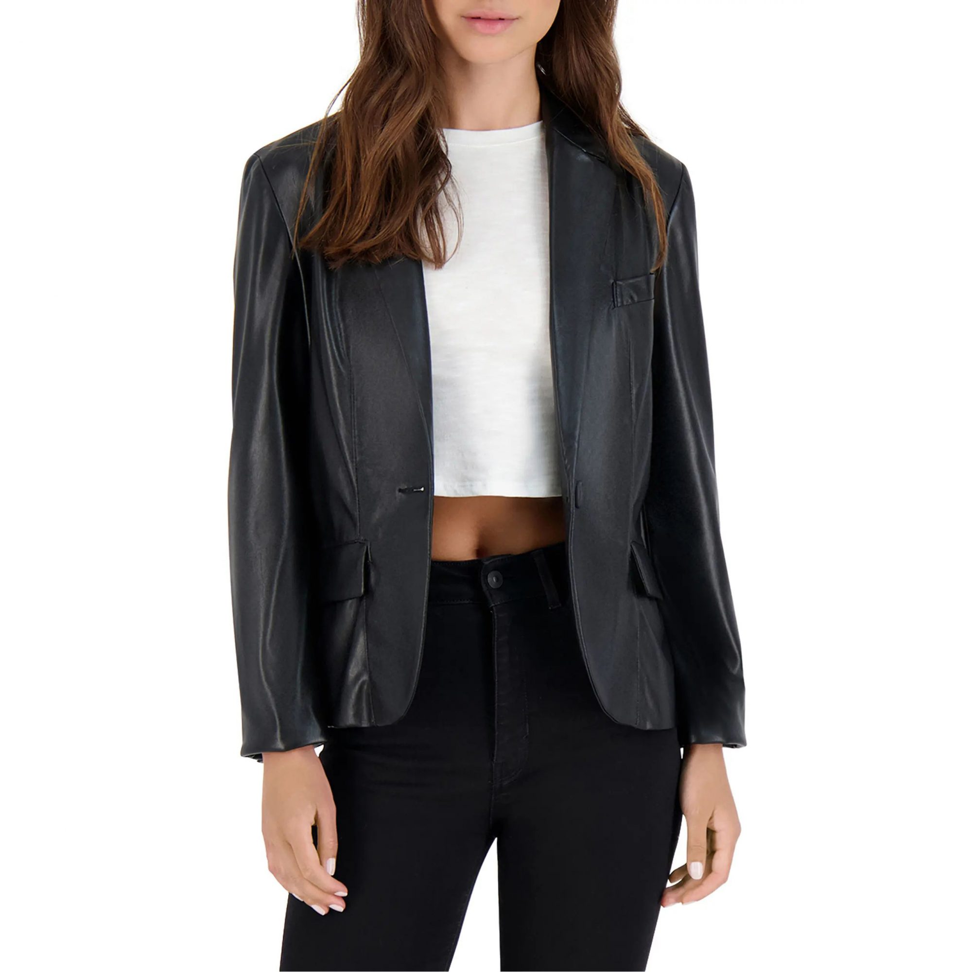 BB Dakota Serious or Not Faux Leather Blazer