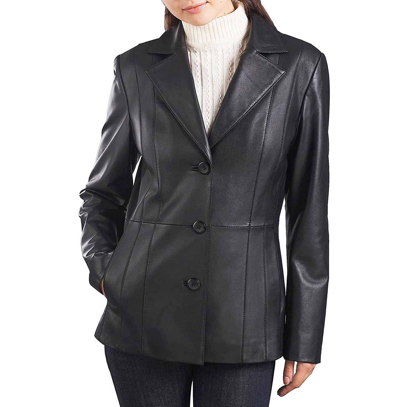 BGSD Women's Crystal Lambskin Leather Blazer